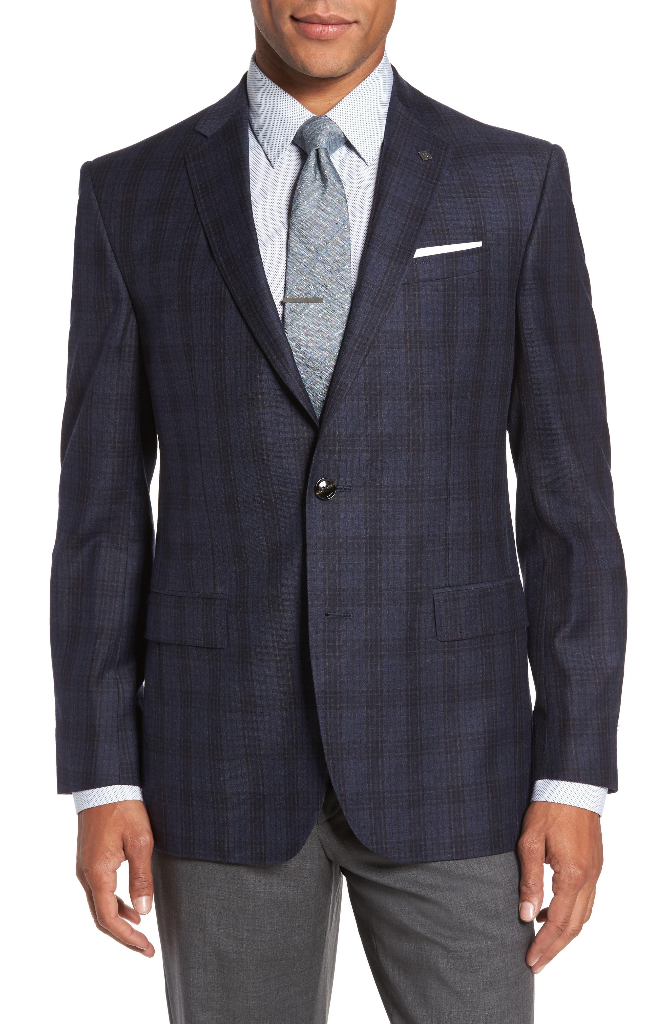 Trim Fit Plaid Wool Sport Coat,                         Main,                         color, Blue