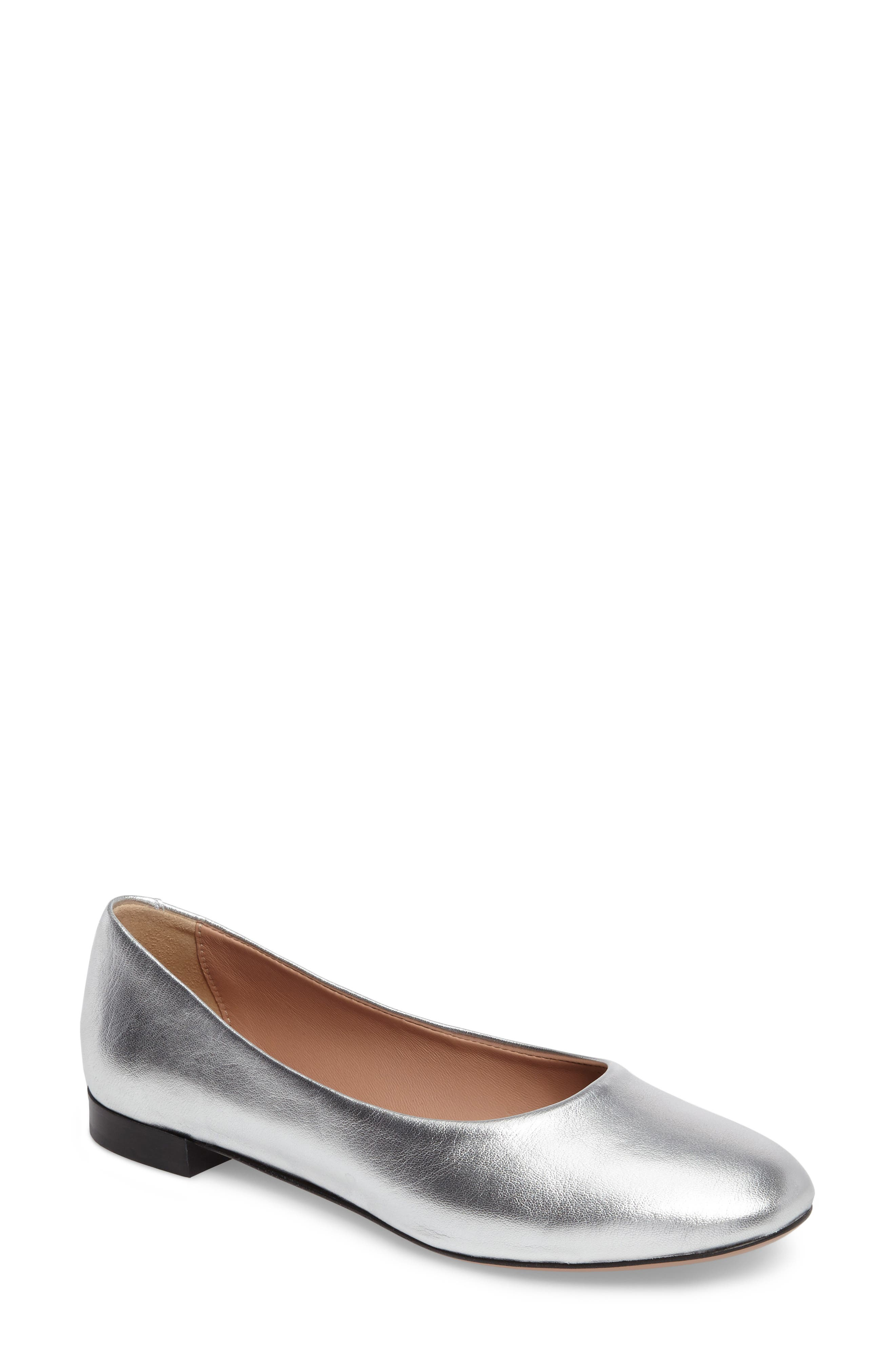 Gemma Ballerina Flat,                         Main,                         color, Silver Leather