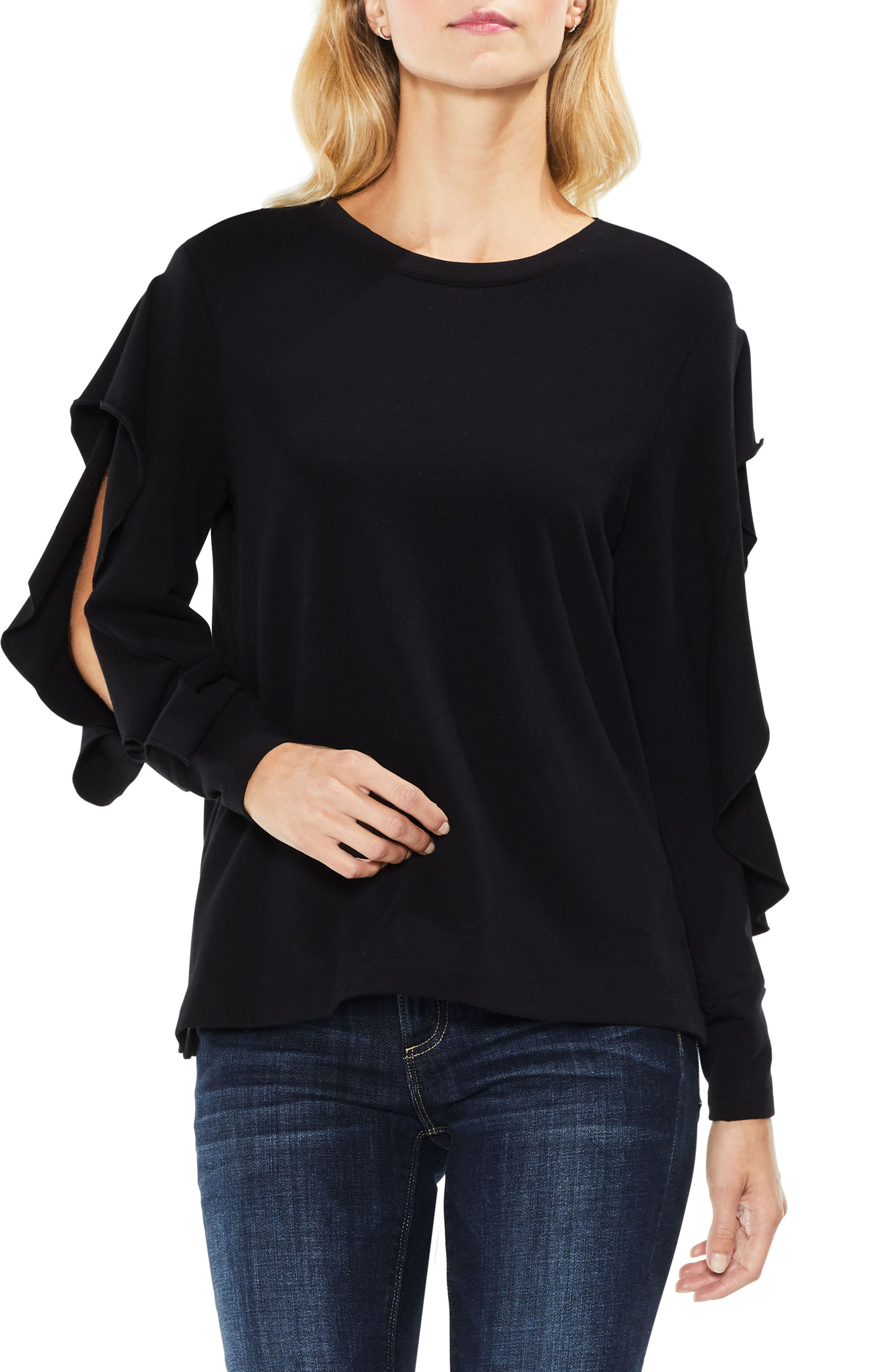 Two by Vince Camuto Ruffled Split Sleeve French Terry Top