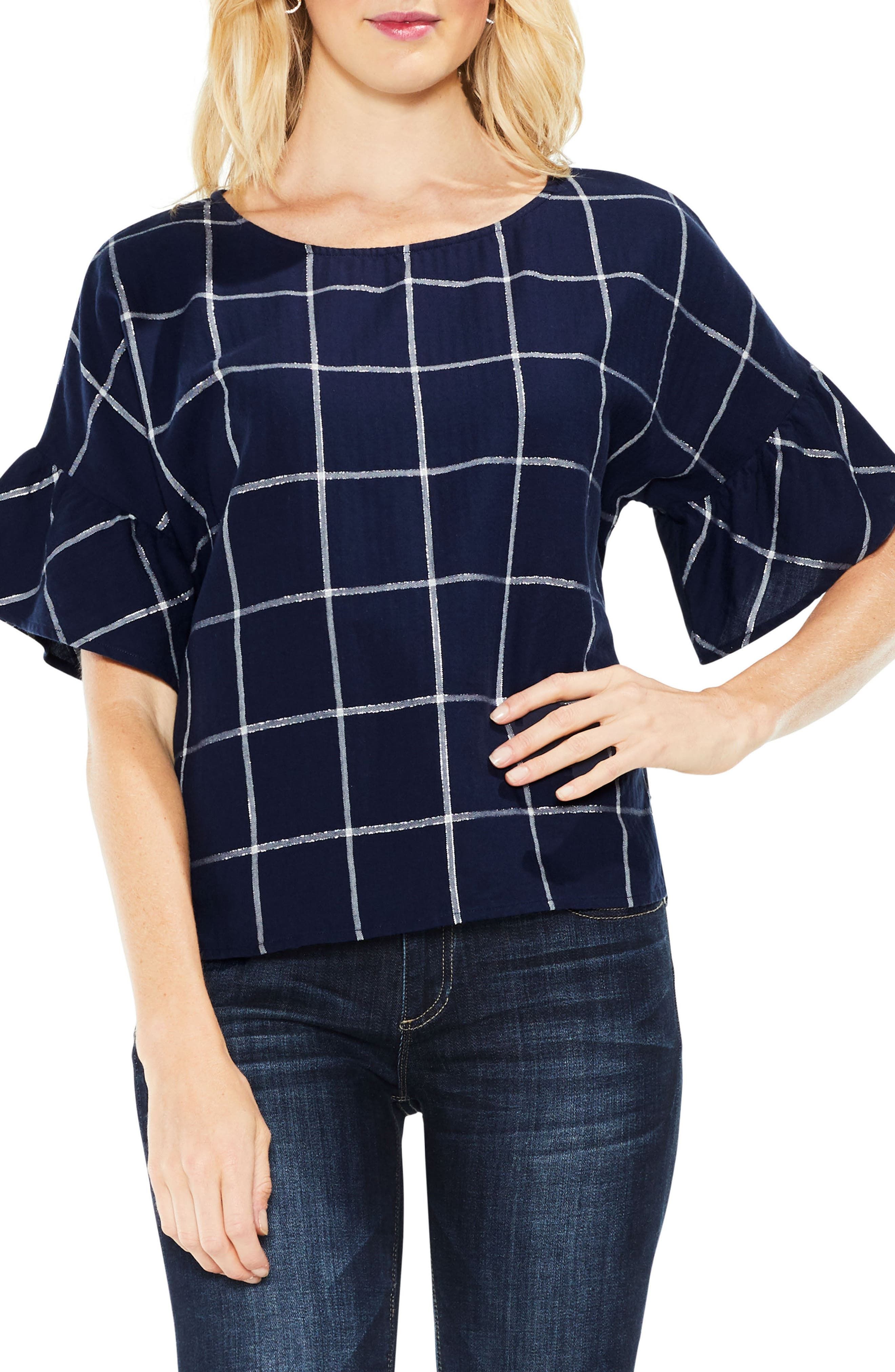 Two by Vince Camuto Ruffle Sleeve Windowpane Top