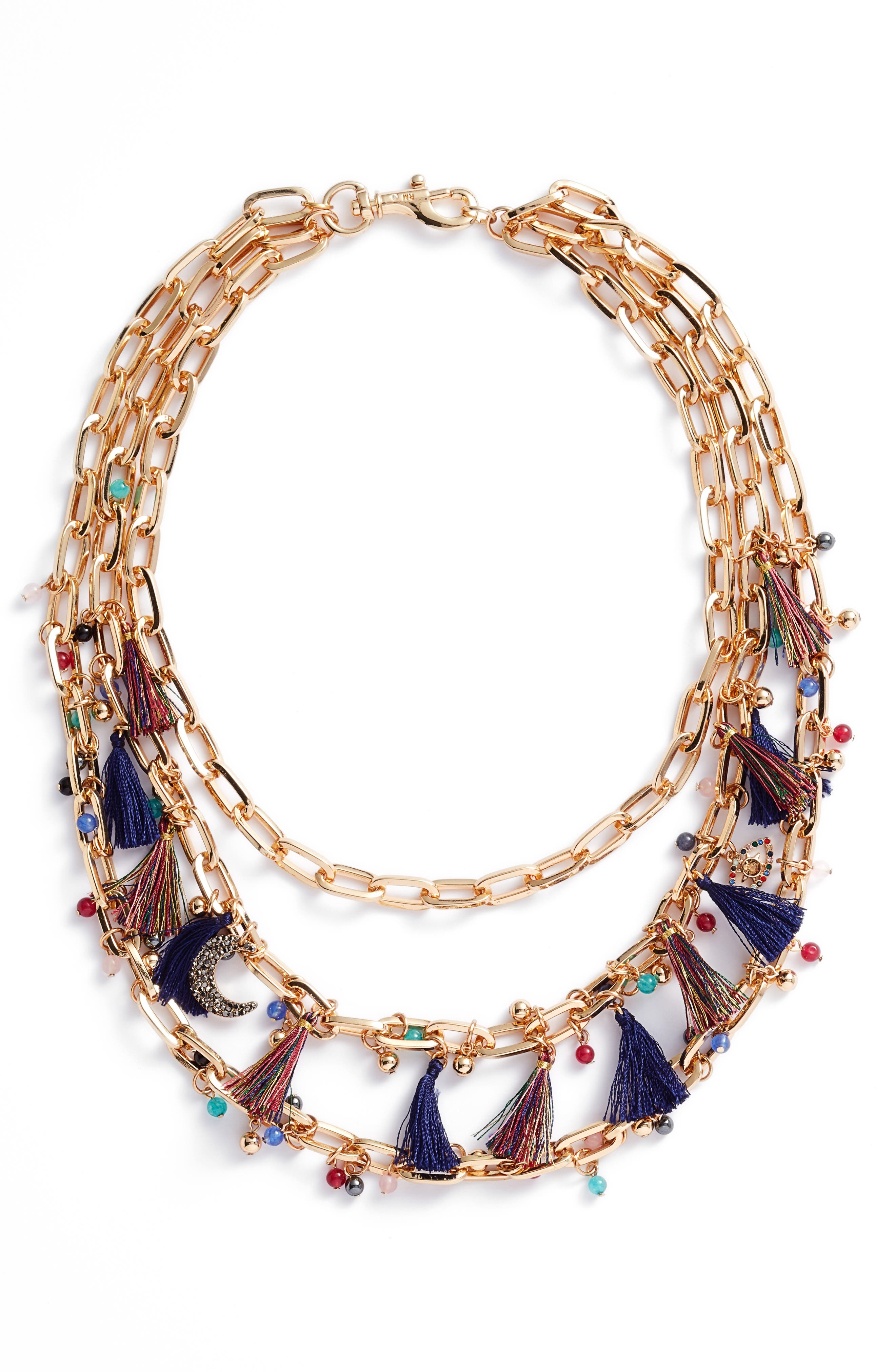 Statement Tassel Necklace,                         Main,                         color, Multi