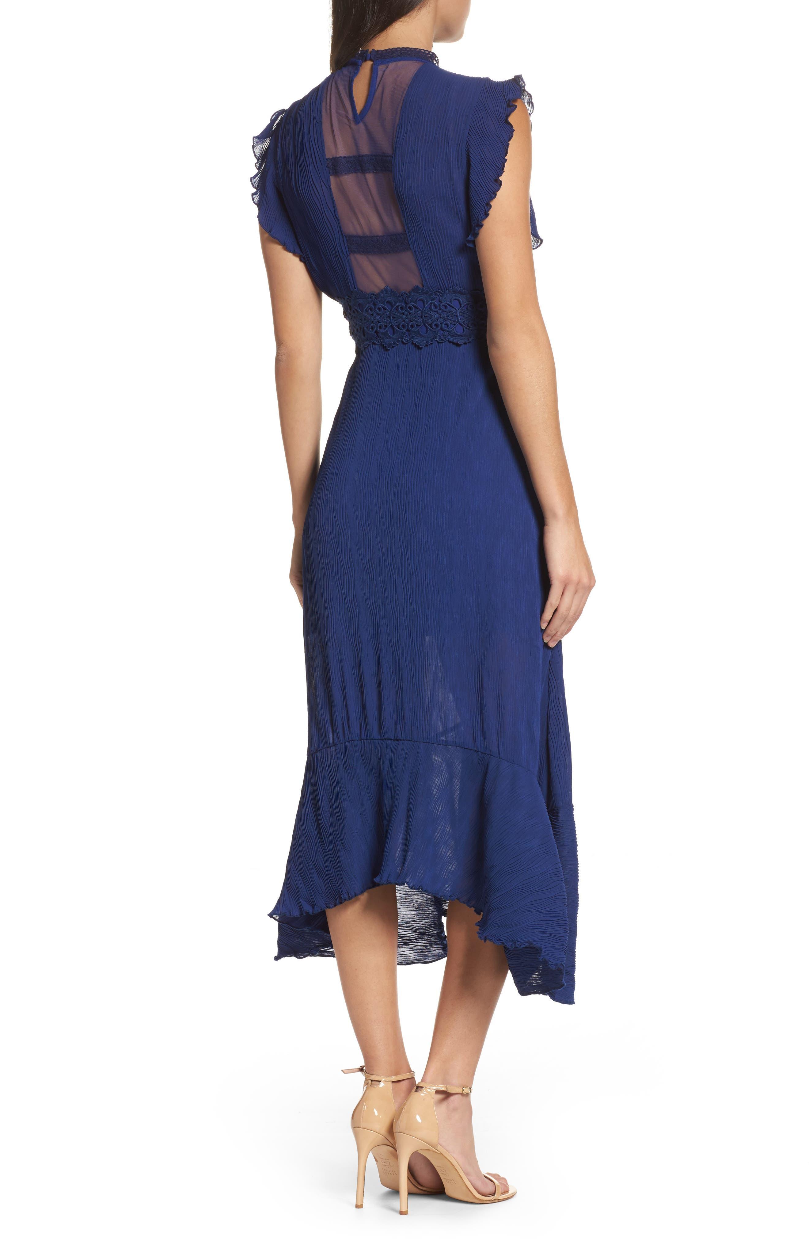 Alternate Image 2  - Foxiedox Isadora Lace Trim Pintuck Midi Dress