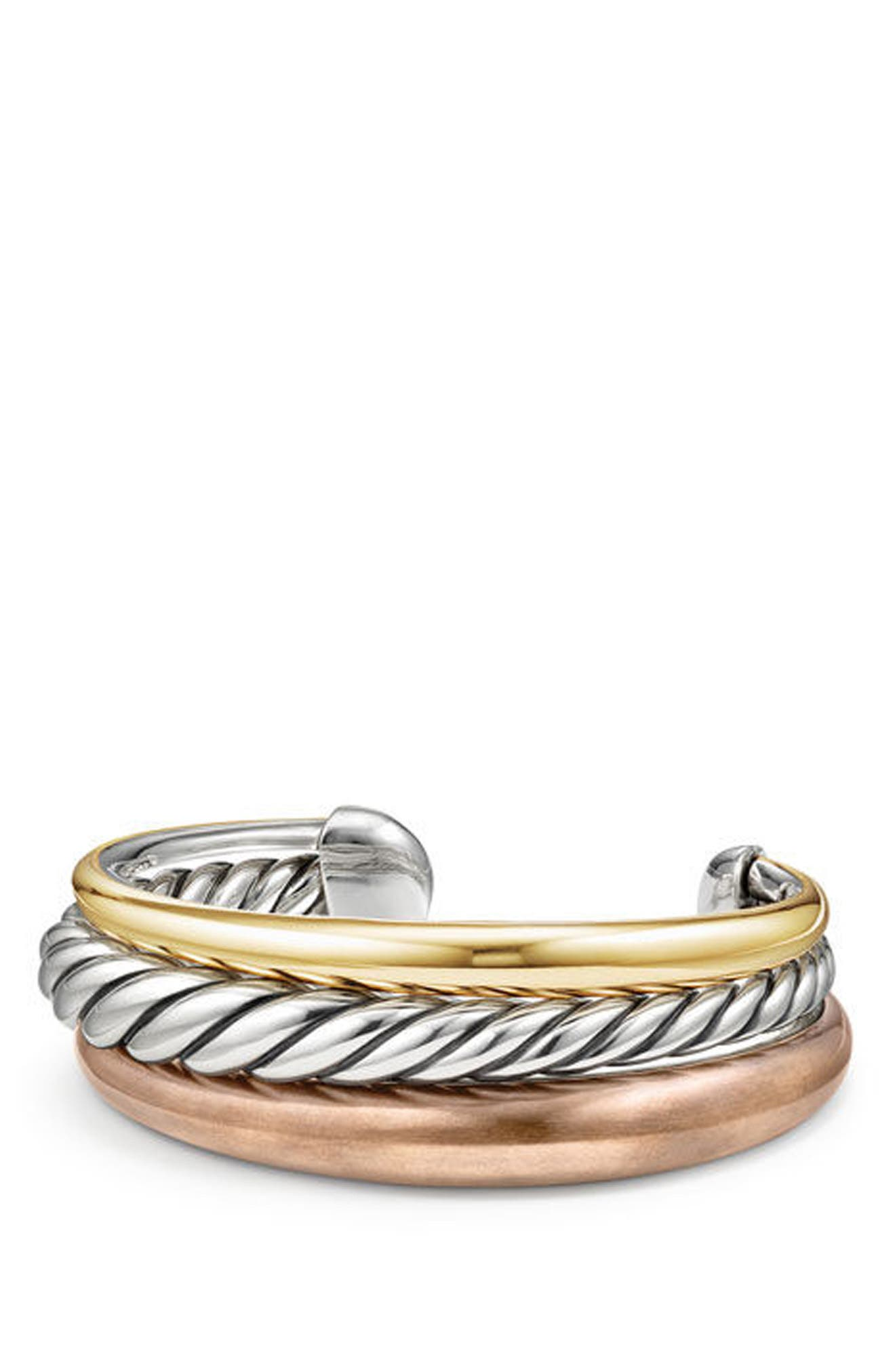 Pure Form Mixed Metal 3-Row Cuff,                         Main,                         color, Silver
