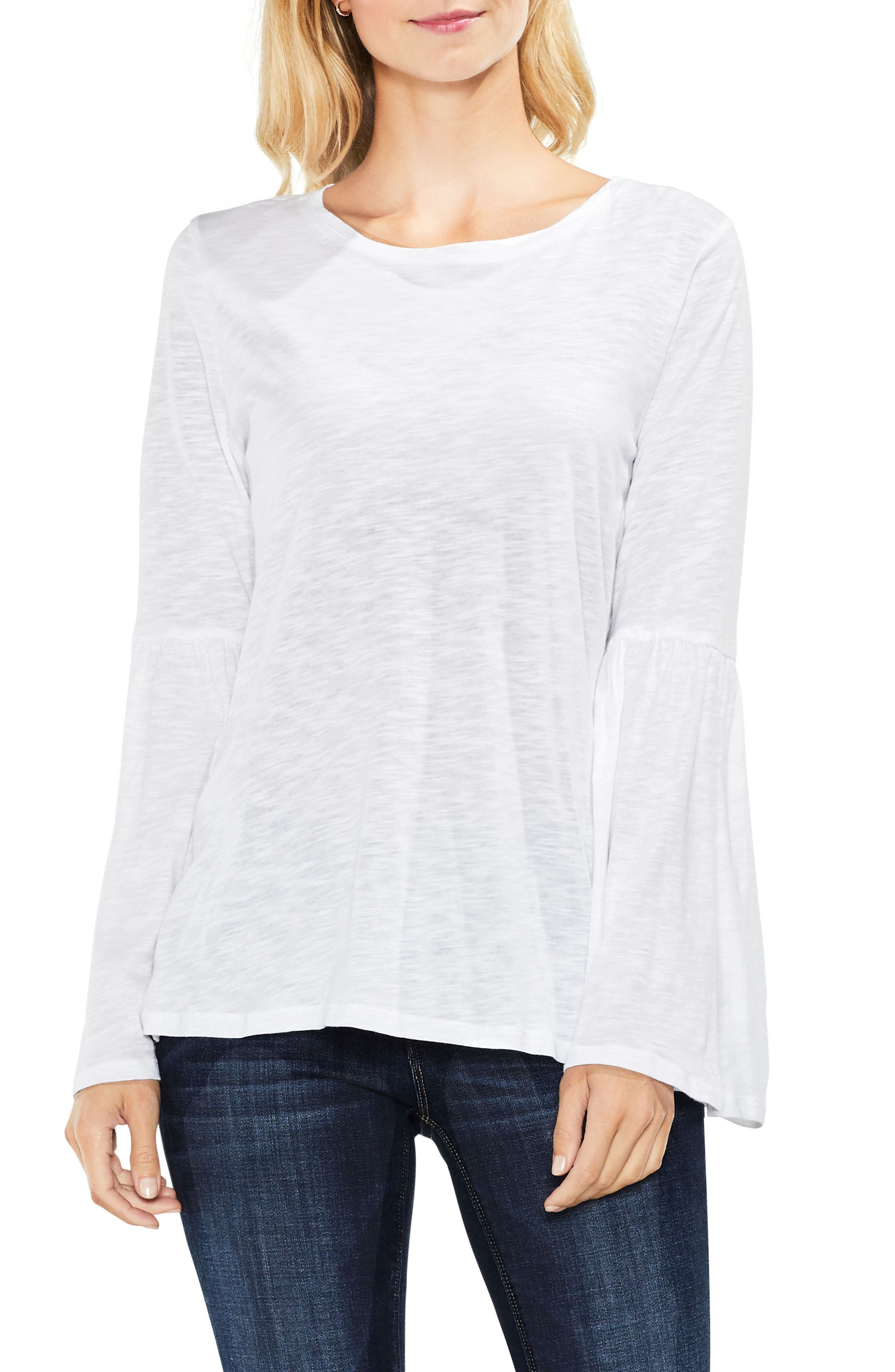 Bell Sleeve Cotton & Modal Top,                             Main thumbnail 1, color,                             Ultra White