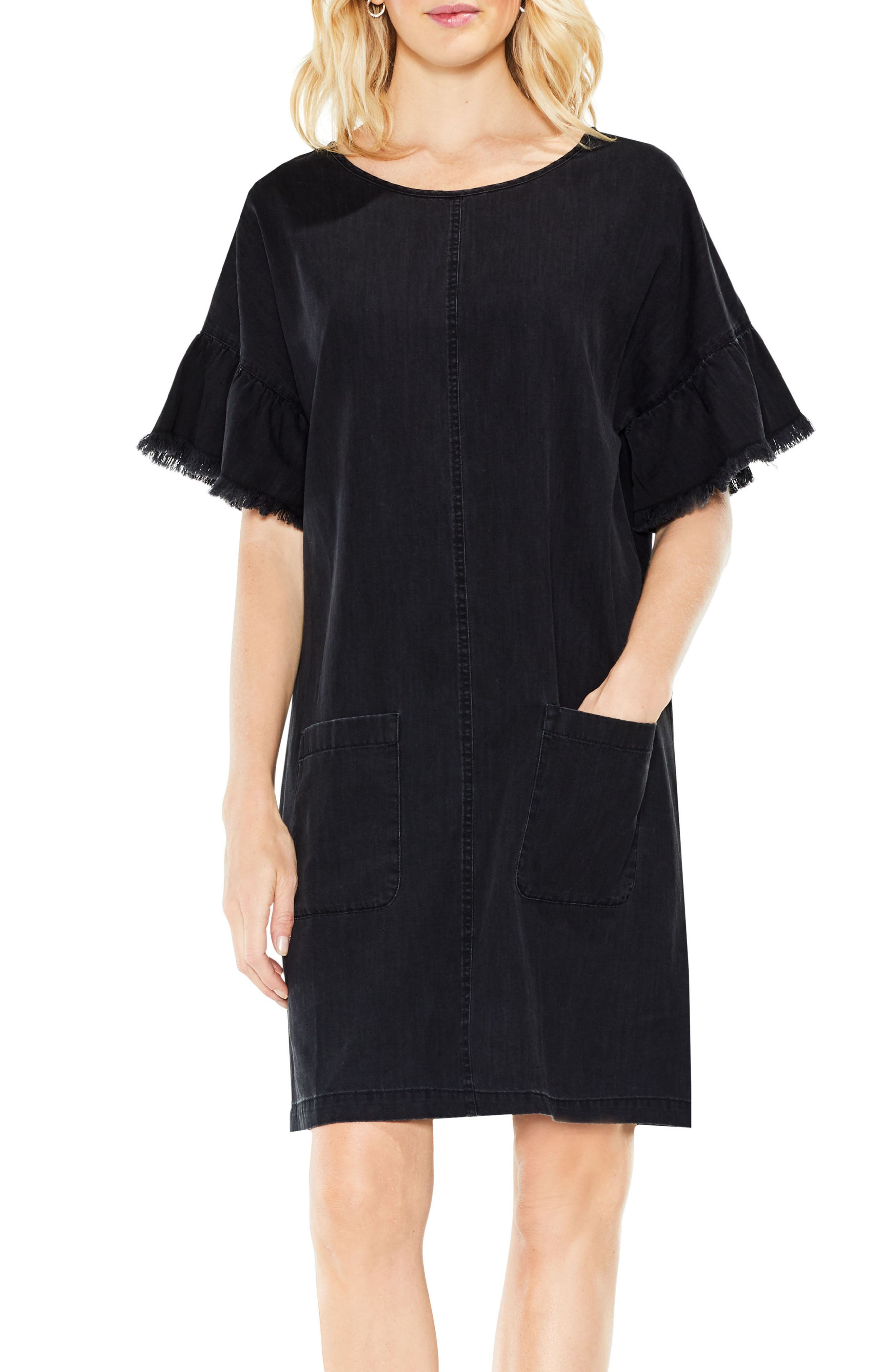 Ruffle Sleeve Denim Shift Dress,                             Main thumbnail 1, color,                             Rich Black