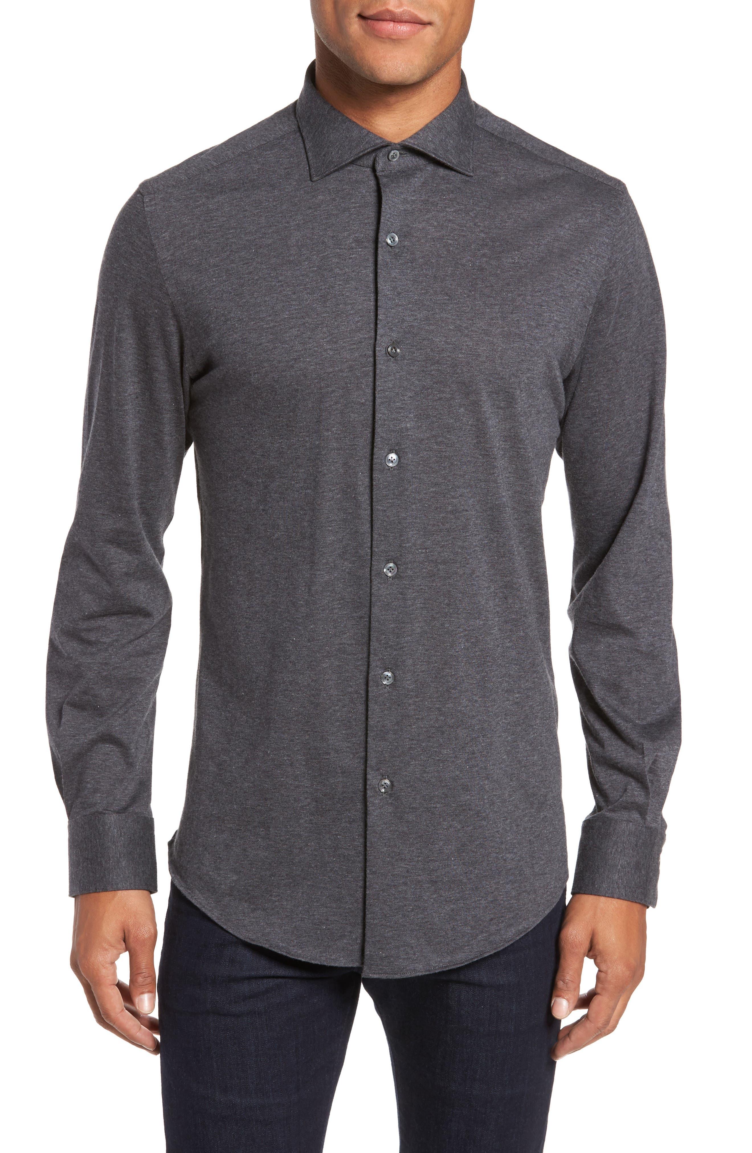 Slim Fit Jersey Sport Shirt,                         Main,                         color, Grey