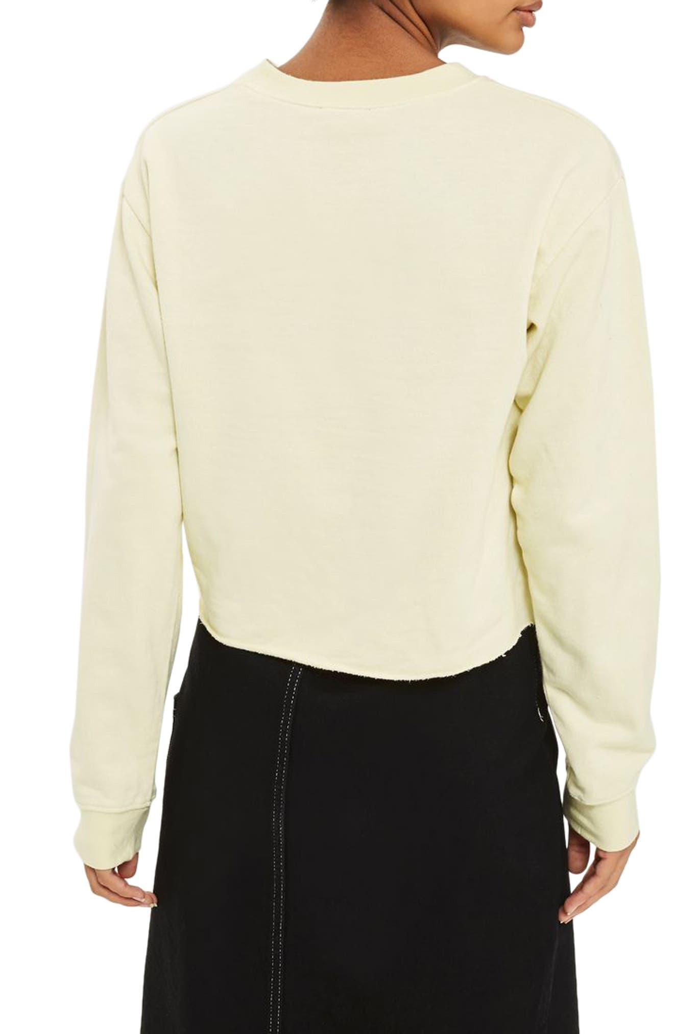 Bronx Cropped Sweatshirt,                             Alternate thumbnail 3, color,                             Yellow