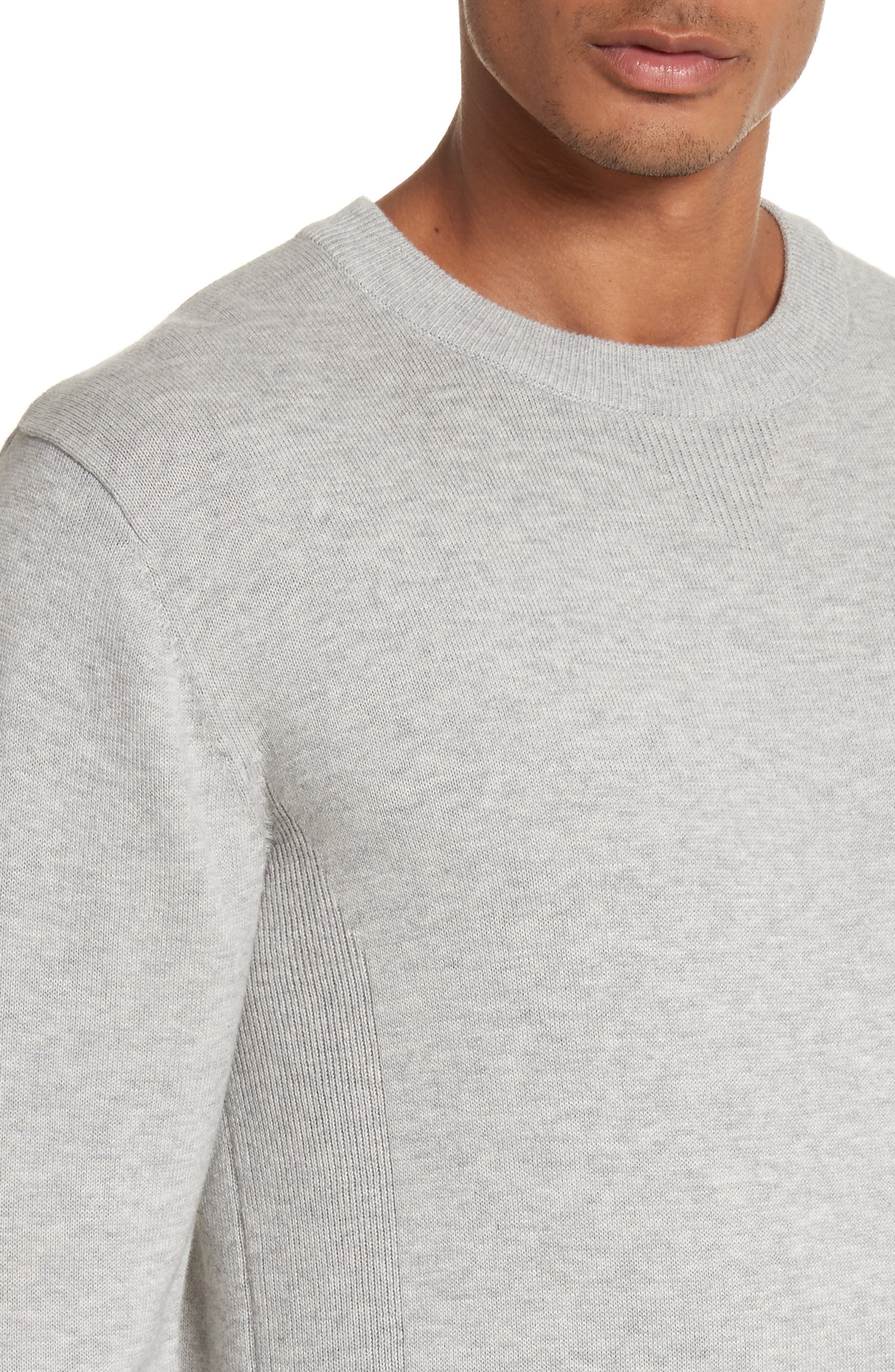 Merino Wool & Cashmere Pullover,                             Alternate thumbnail 4, color,                             Ash Heather