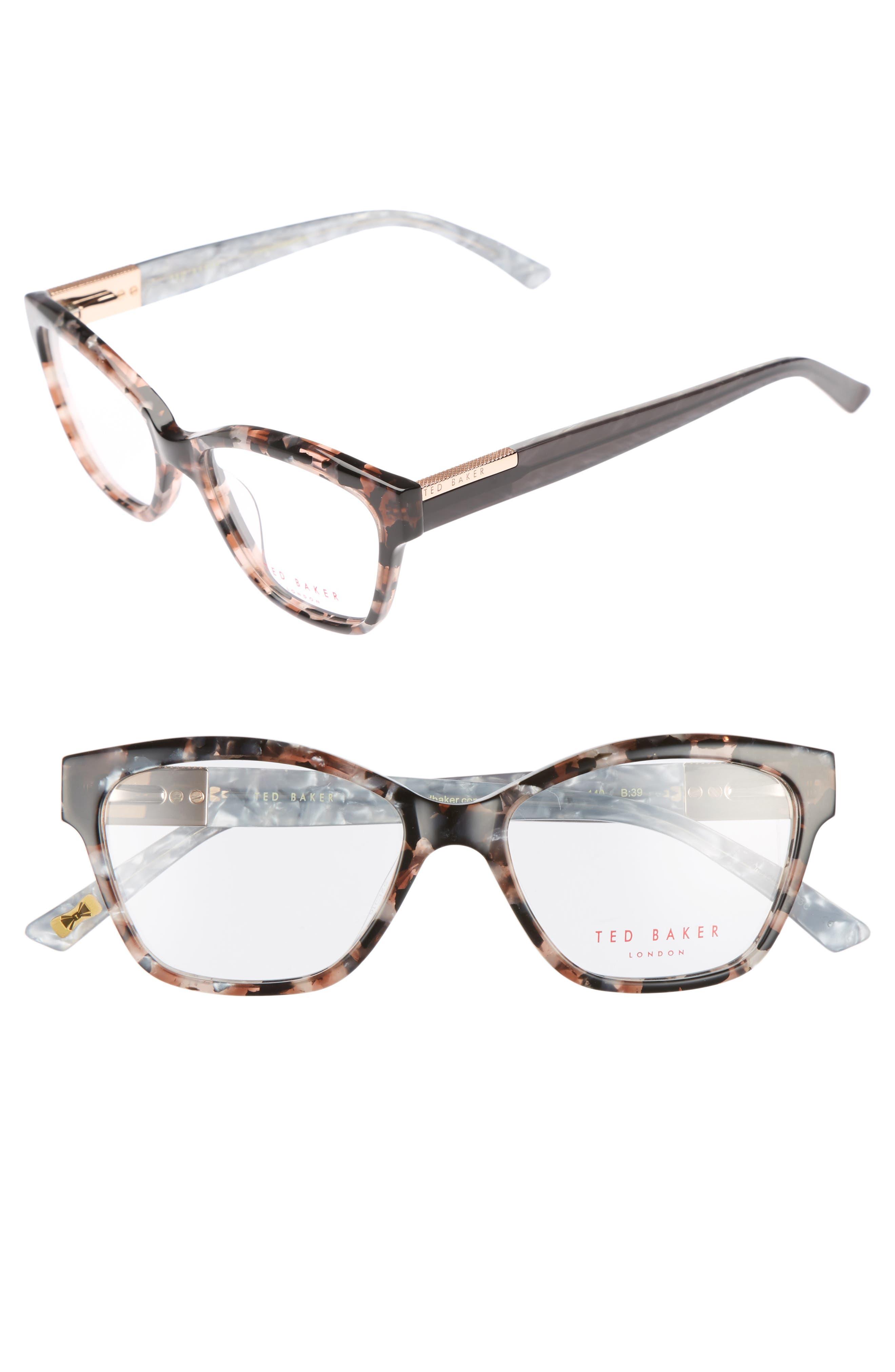 52mm Optical Cat Eye Glasses,                         Main,                         color, Pink