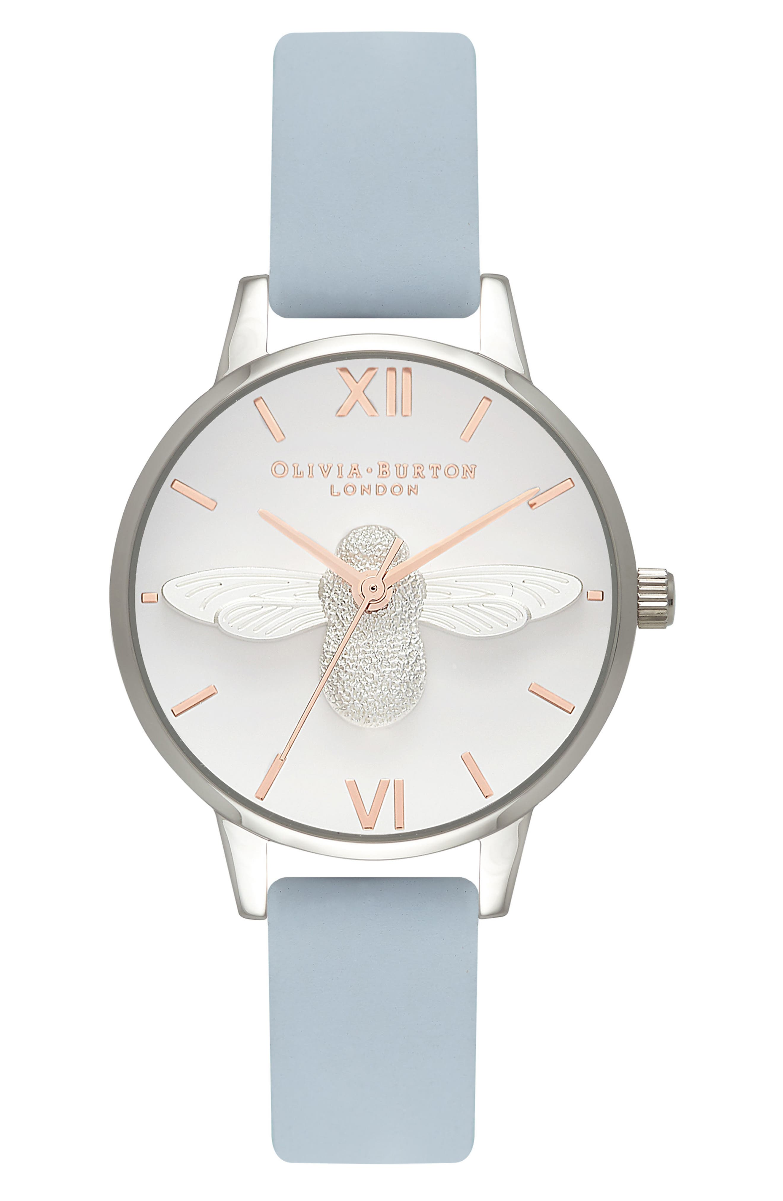Animal Motif Leather Strap Watch, 30mm,                         Main,                         color, Chalk Blue/ Silver