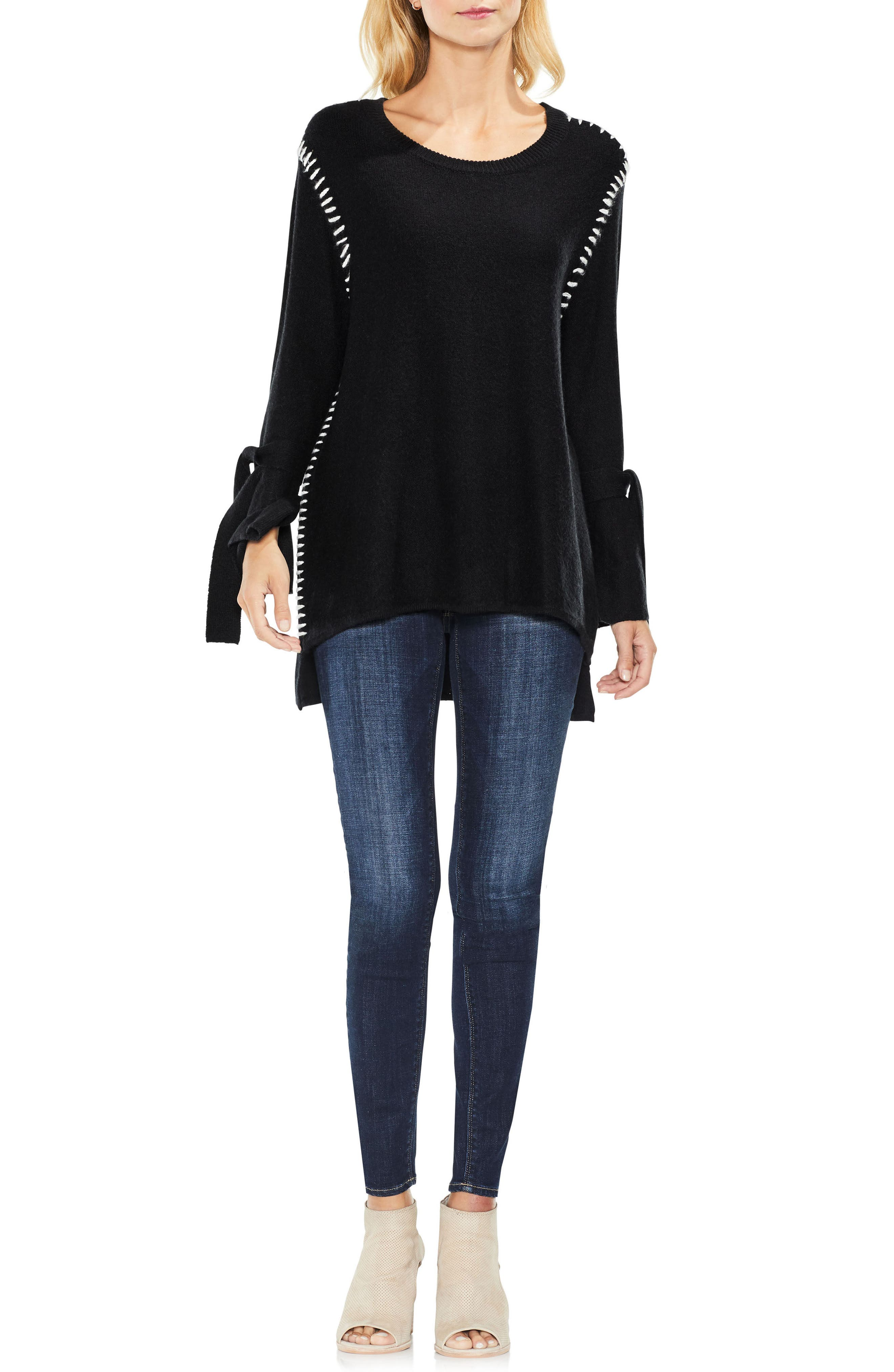 Tie Sleeve Sweater,                             Alternate thumbnail 2, color,                             Rich Black
