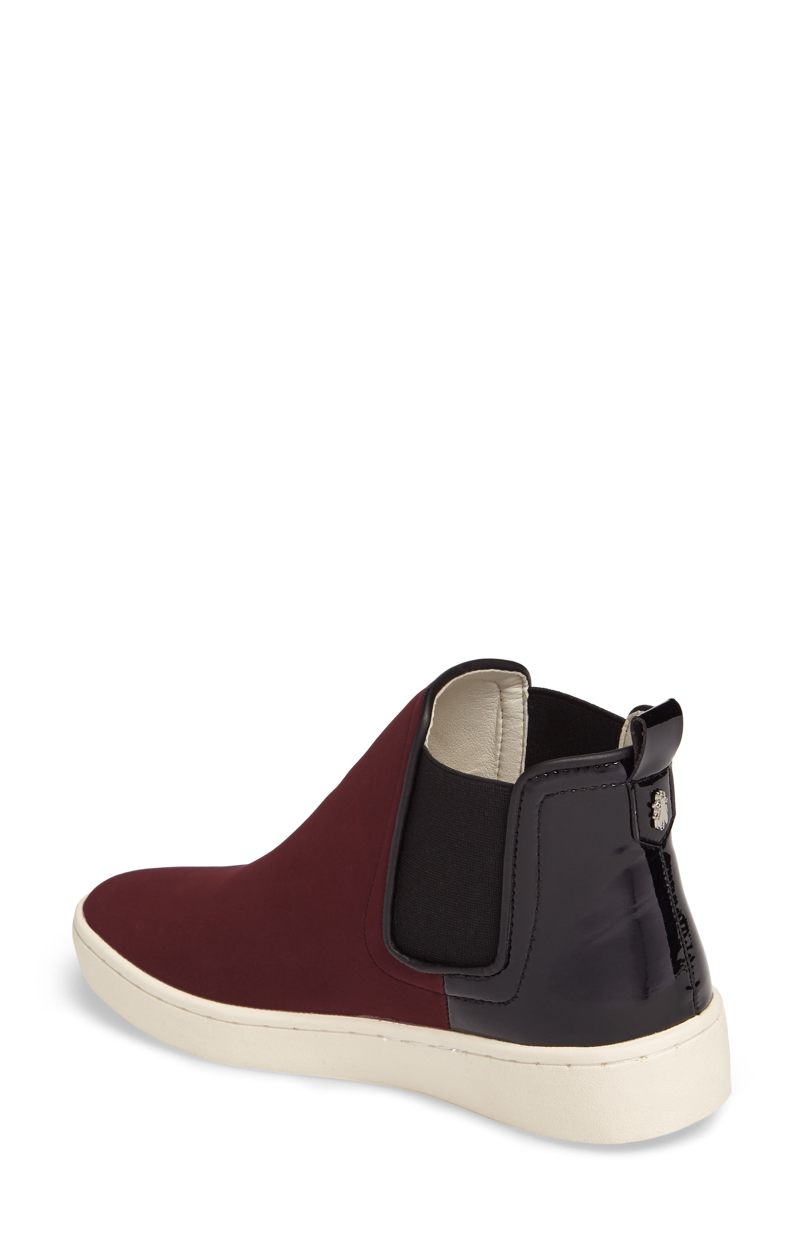 'Mabs' Slip-On Platform Sneaker,                             Alternate thumbnail 2, color,                             Bordeaux/ Black Leather