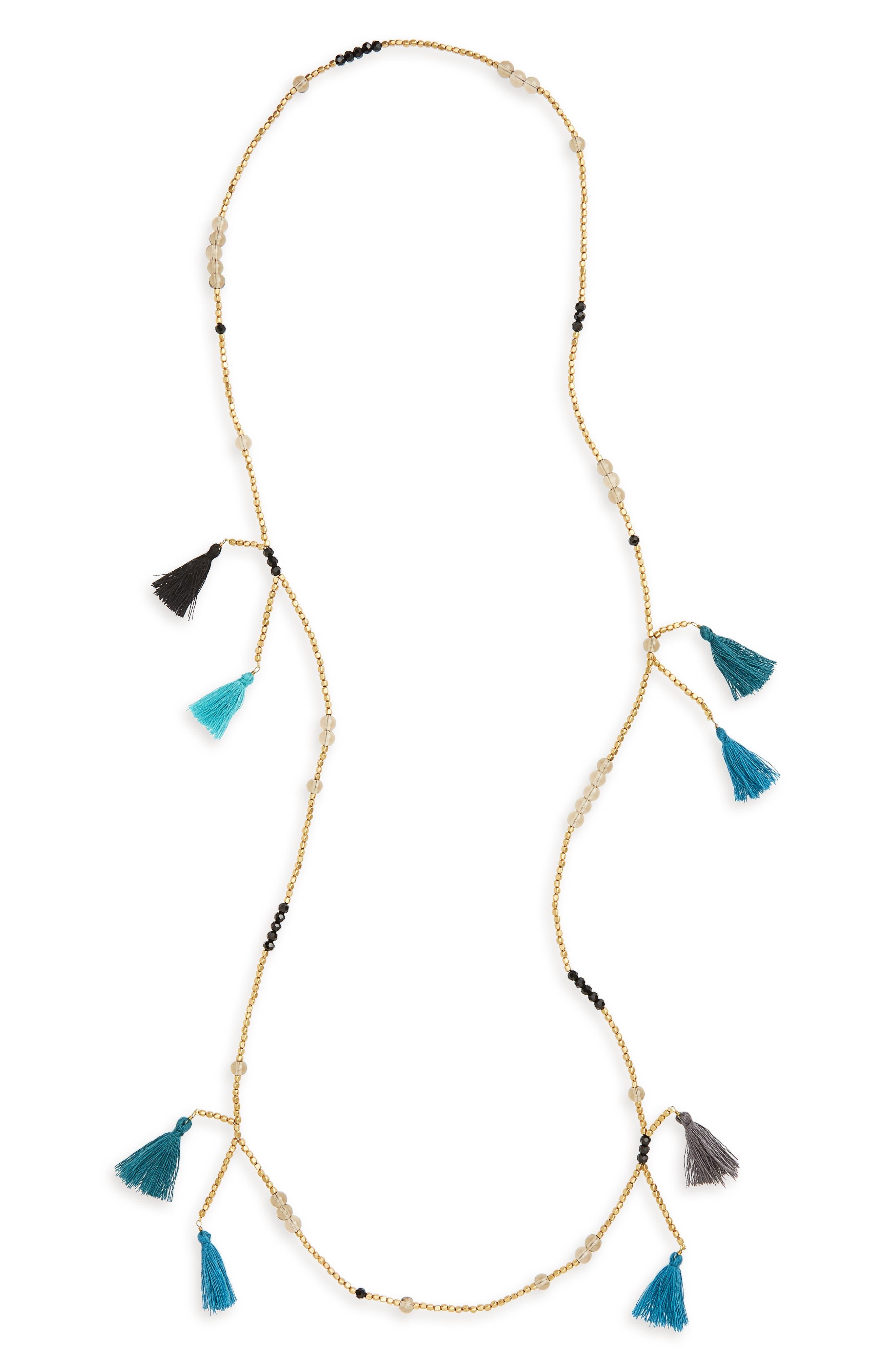 Multi Tassel Beaded Necklace,                         Main,                         color, Multi