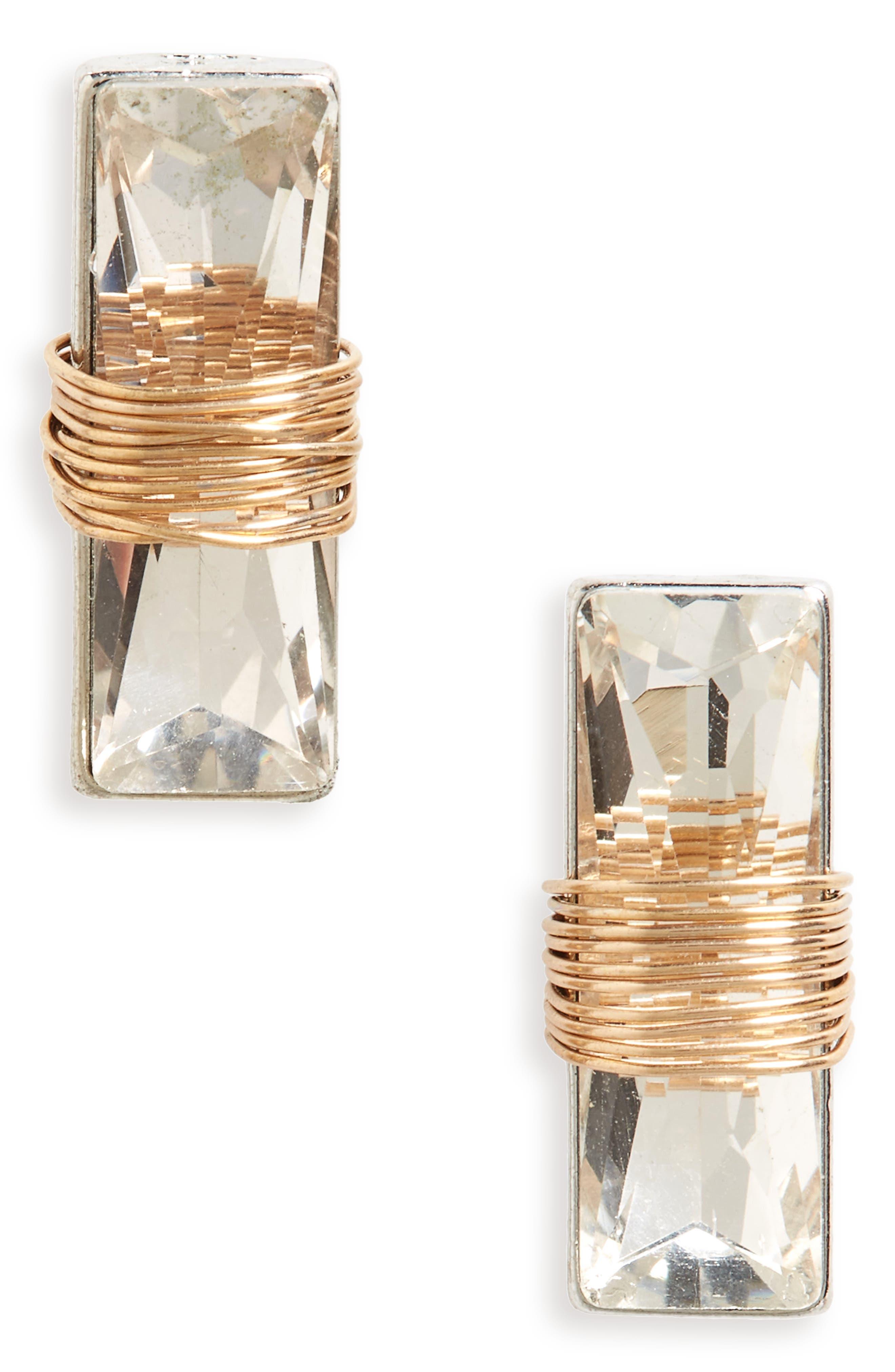 BP. Wire Wrap Crystal Stud Earrings
