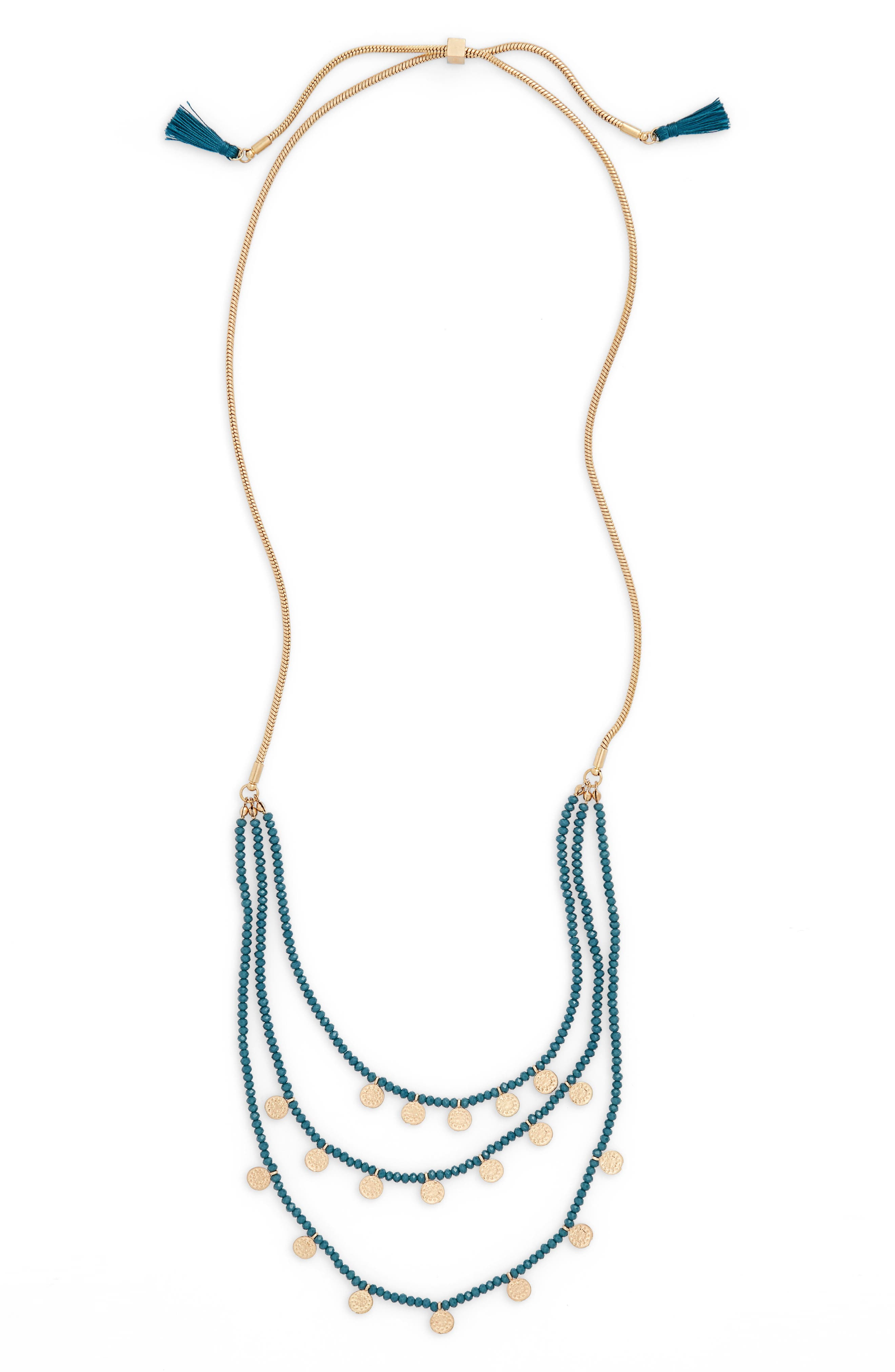 Medallion & Bead Necklace,                         Main,                         color, Teal