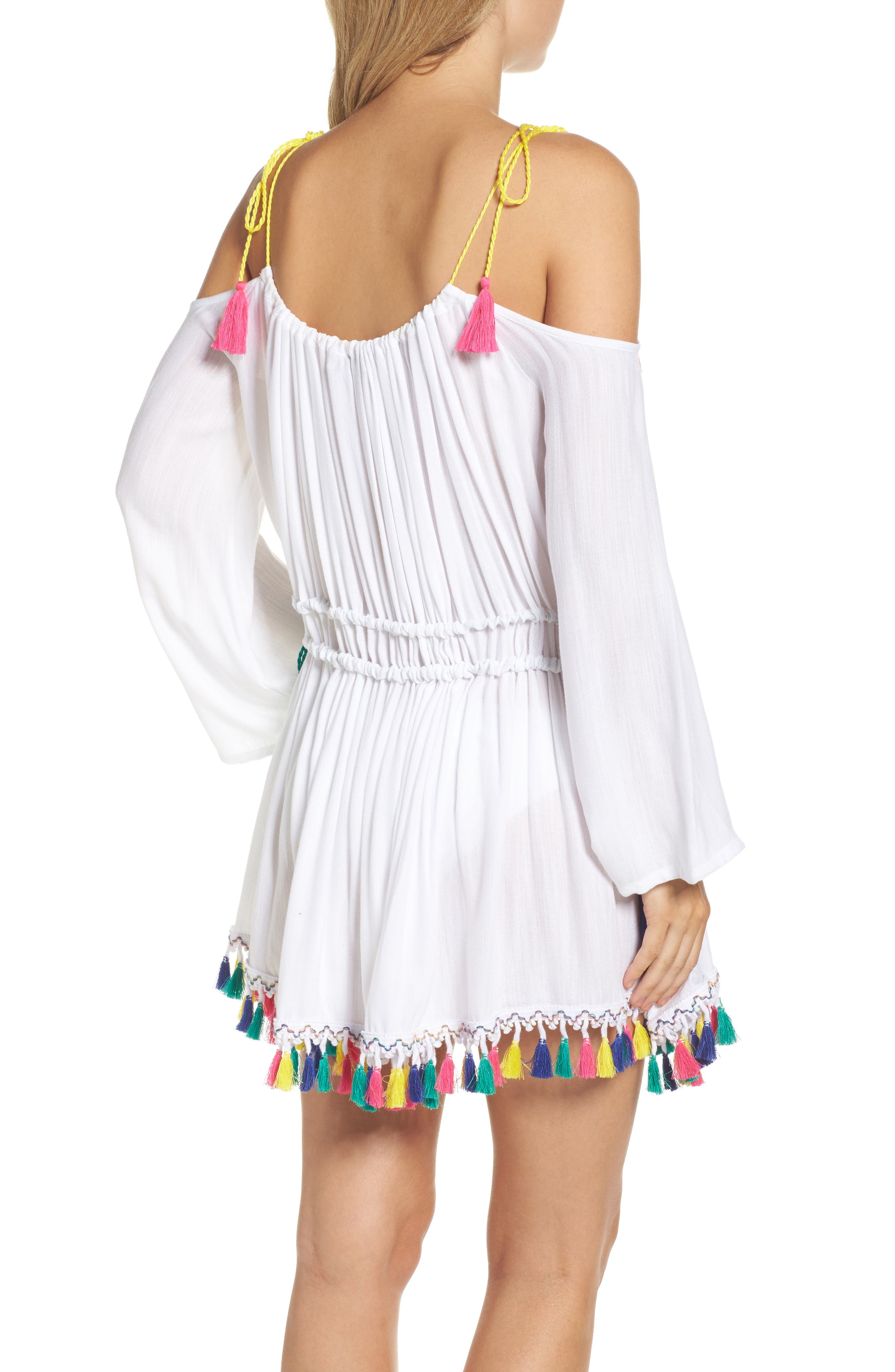 Fiesta Cover-Up Dress,                             Alternate thumbnail 2, color,                             White