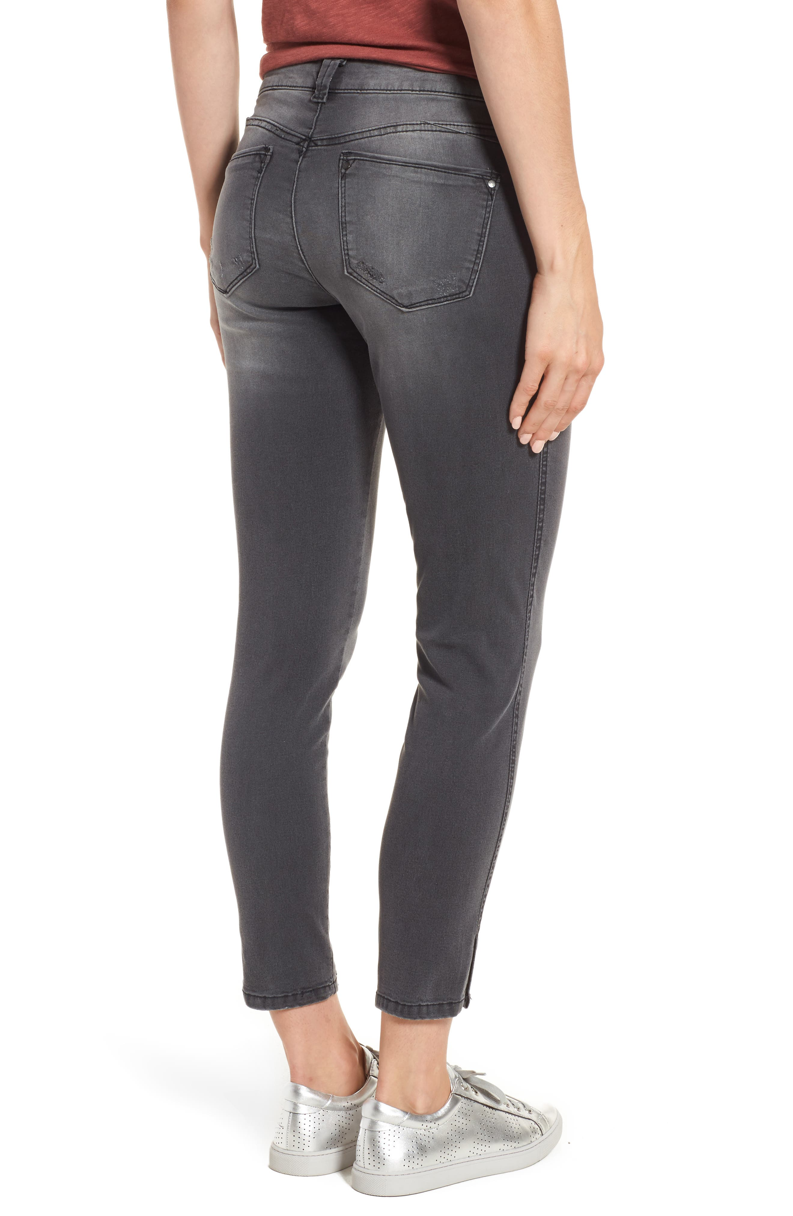 Slit Skinny Ankle Jeans,                             Alternate thumbnail 2, color,                             Grey