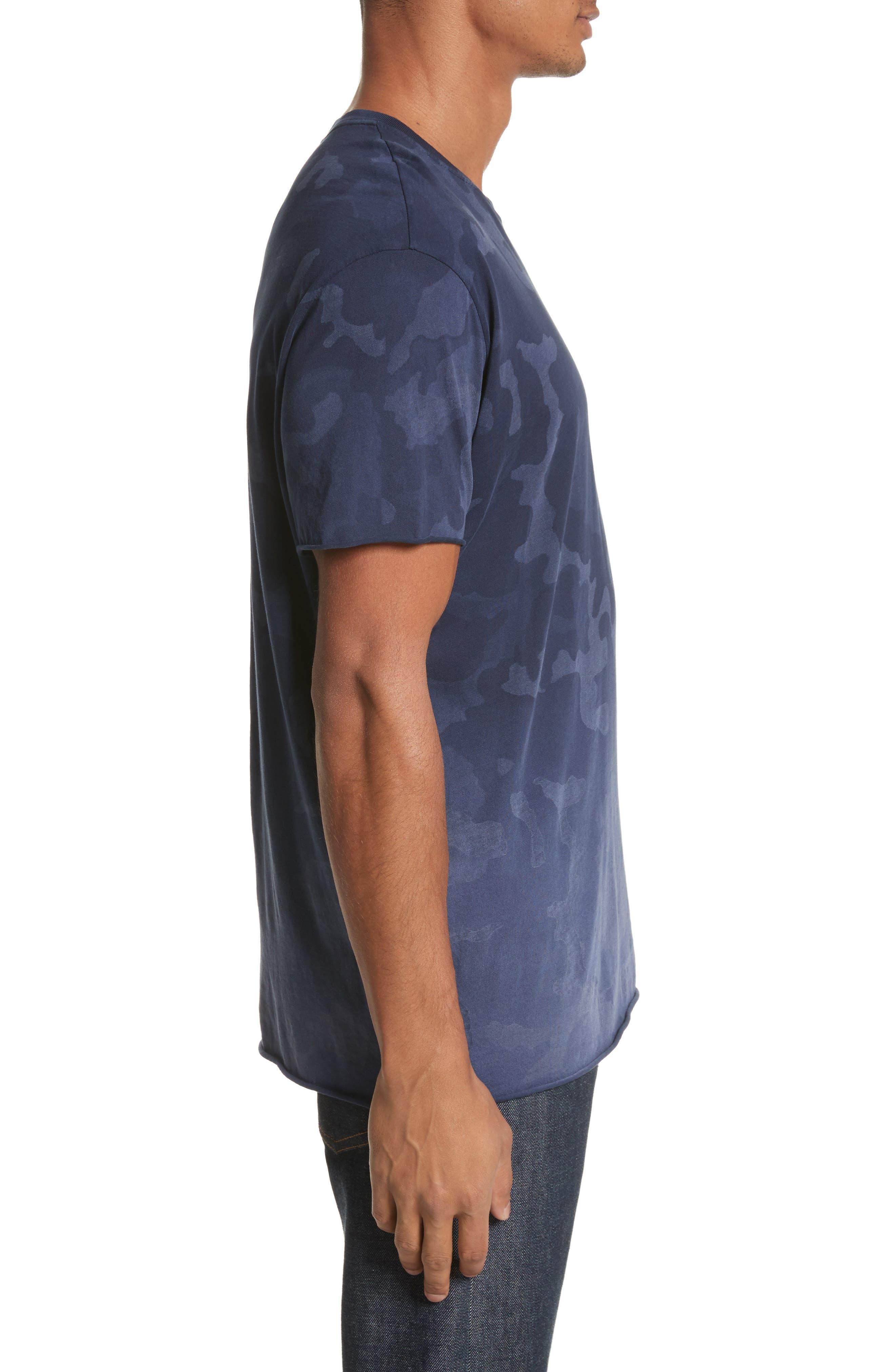 Camo Print Crewneck T-Shirt,                             Alternate thumbnail 3, color,                             Blue Camo