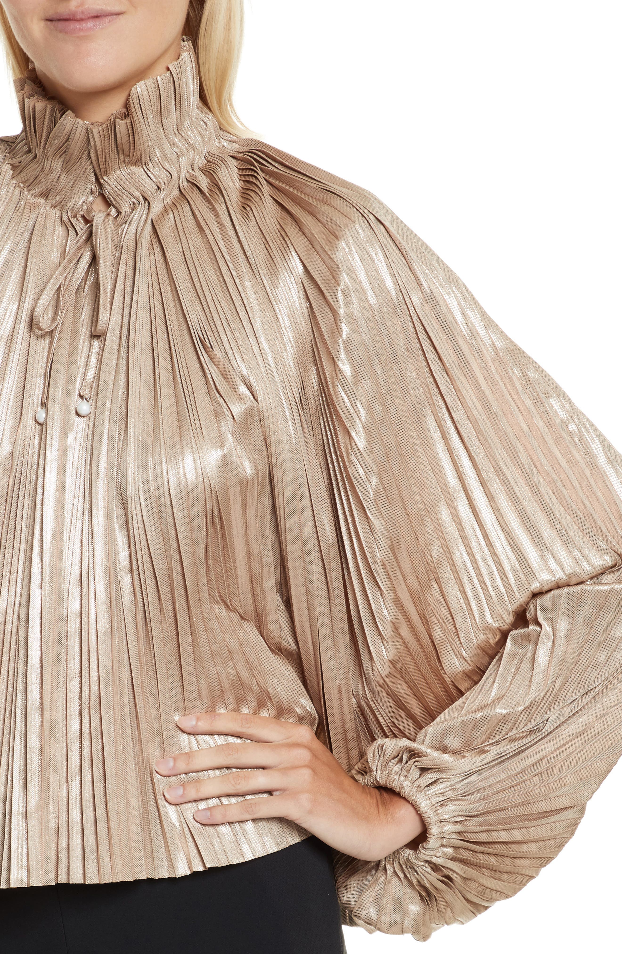 Alternate Image 4  - Opening Ceremony Foil Pleated Top