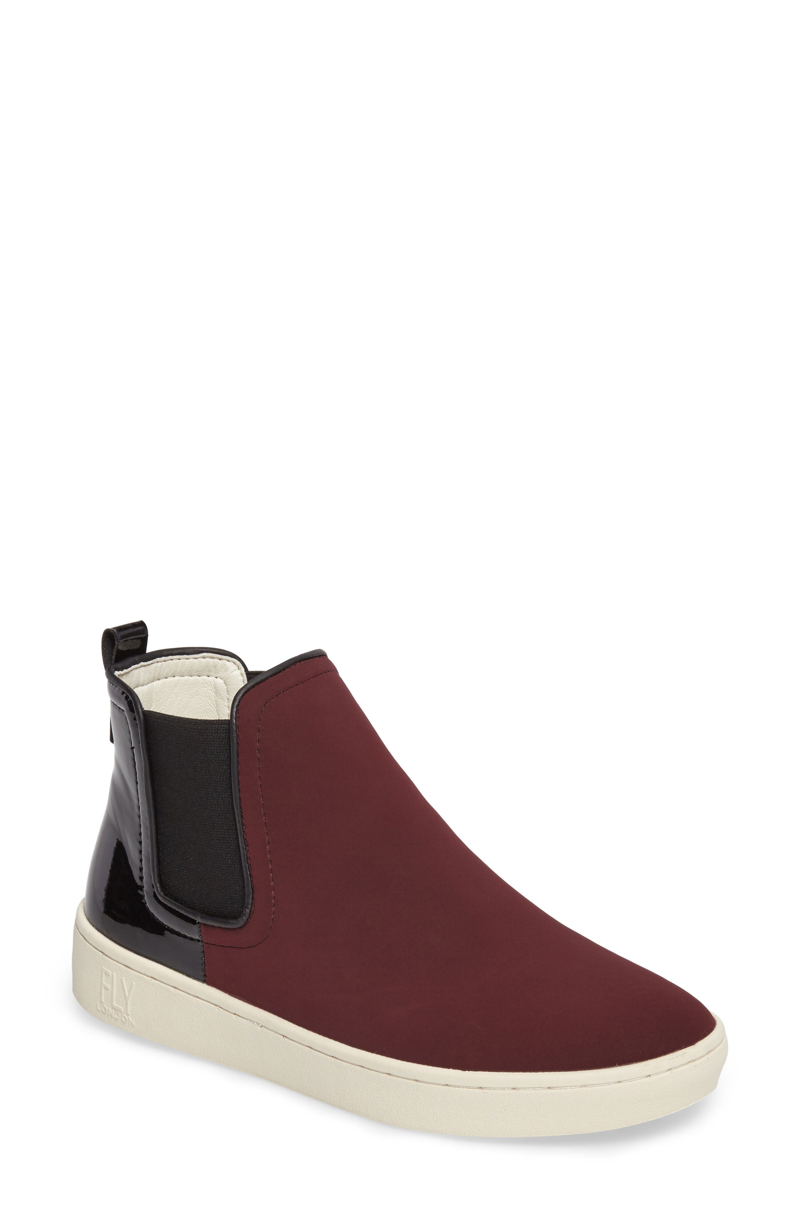'Mabs' Slip-On Platform Sneaker,                             Main thumbnail 1, color,                             Bordeaux/ Black Leather