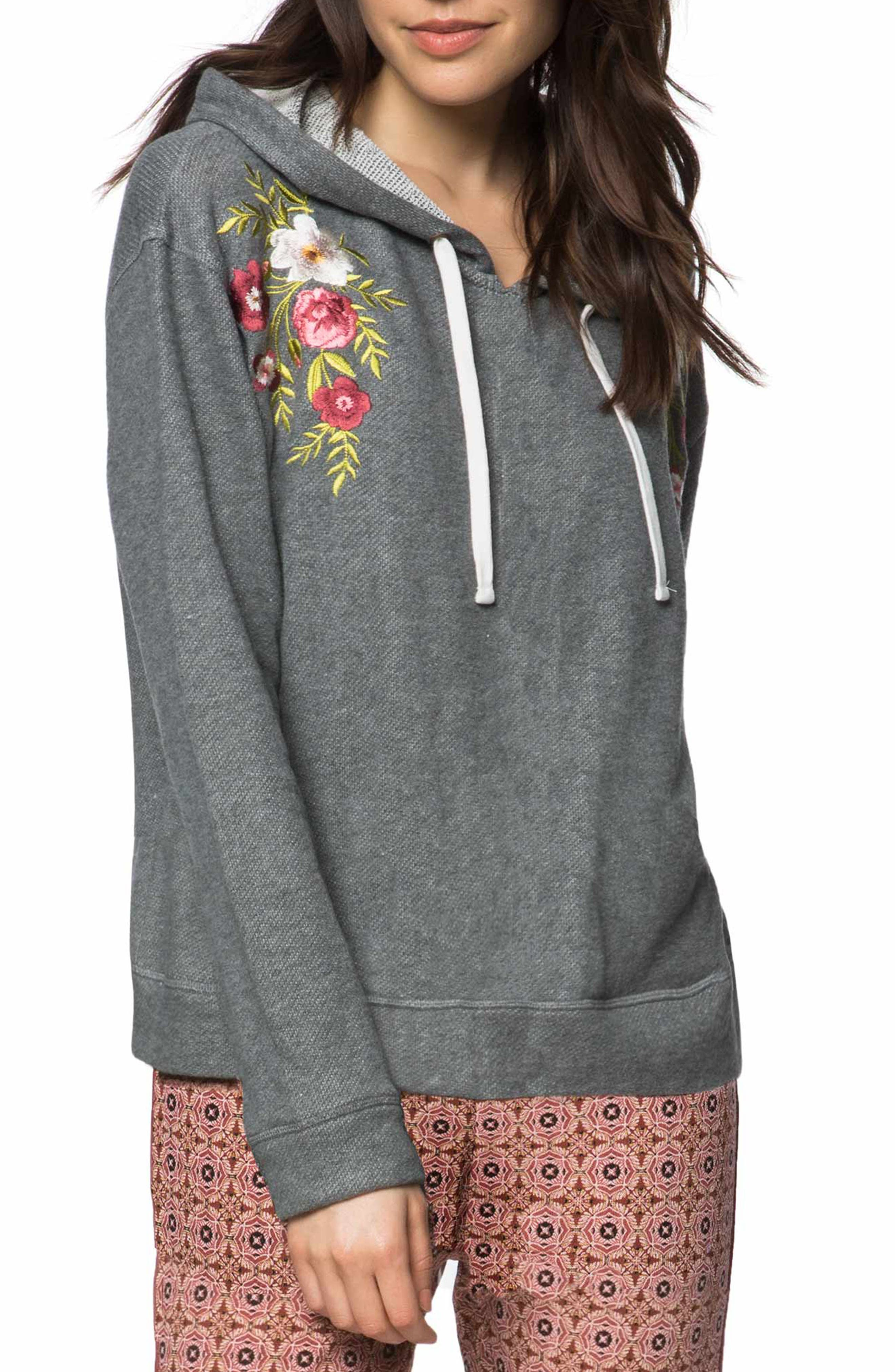 Brianne Embroidered Hoodie,                             Main thumbnail 1, color,                             Heather Grey - Hgr