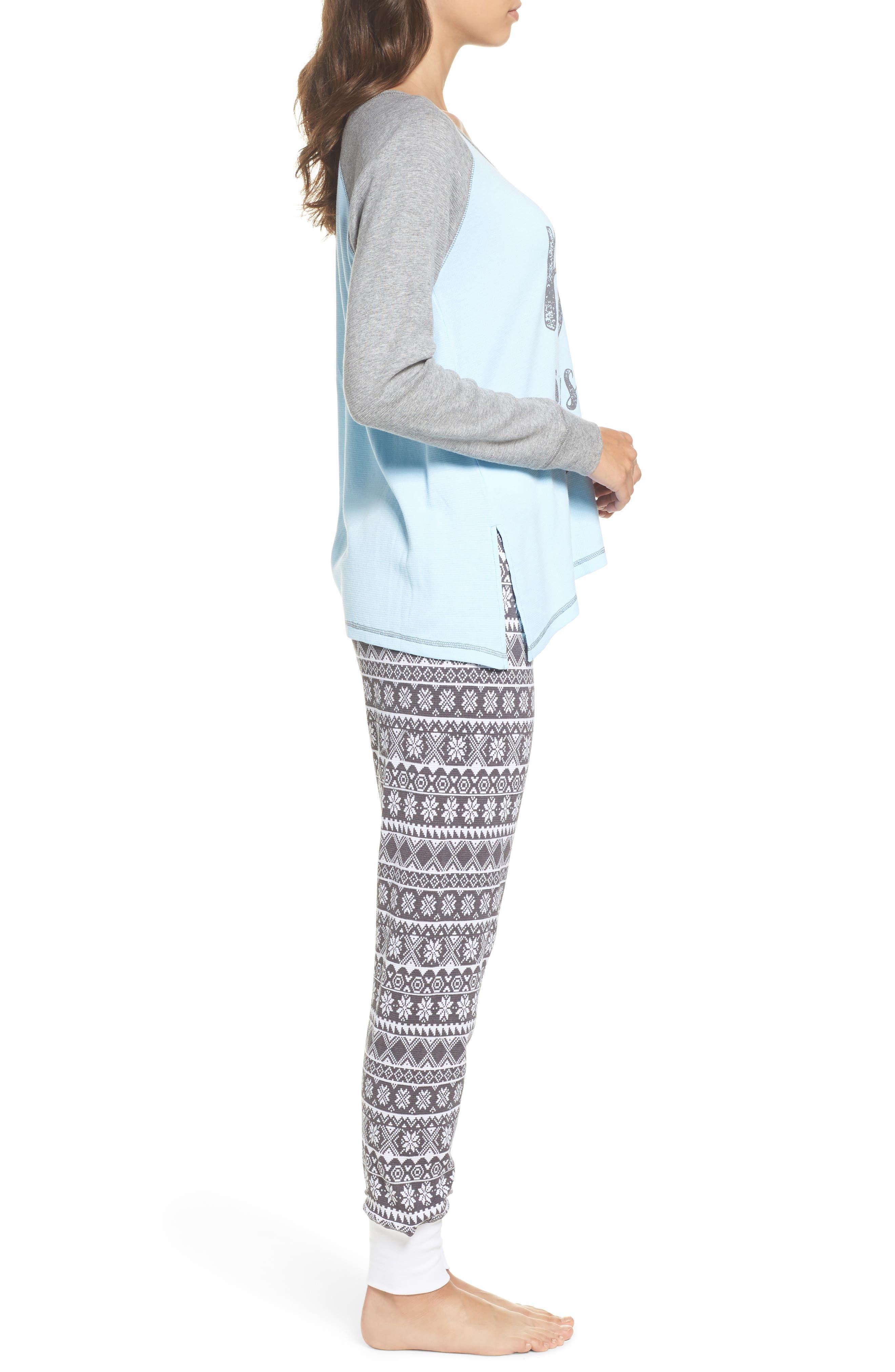 Thermal Pajamas,                             Alternate thumbnail 3, color,                             Grey