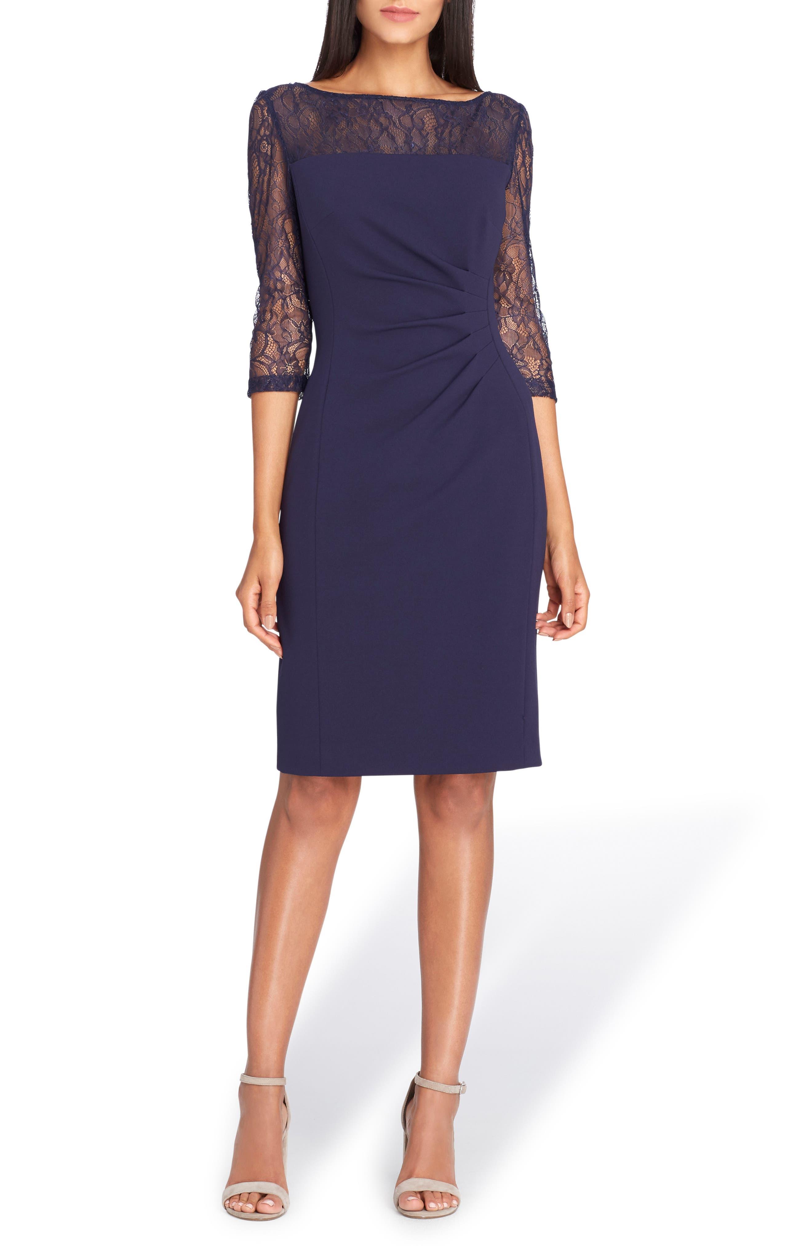 Sheer Illusion Lace Sheath Dress,                         Main,                         color, Navy