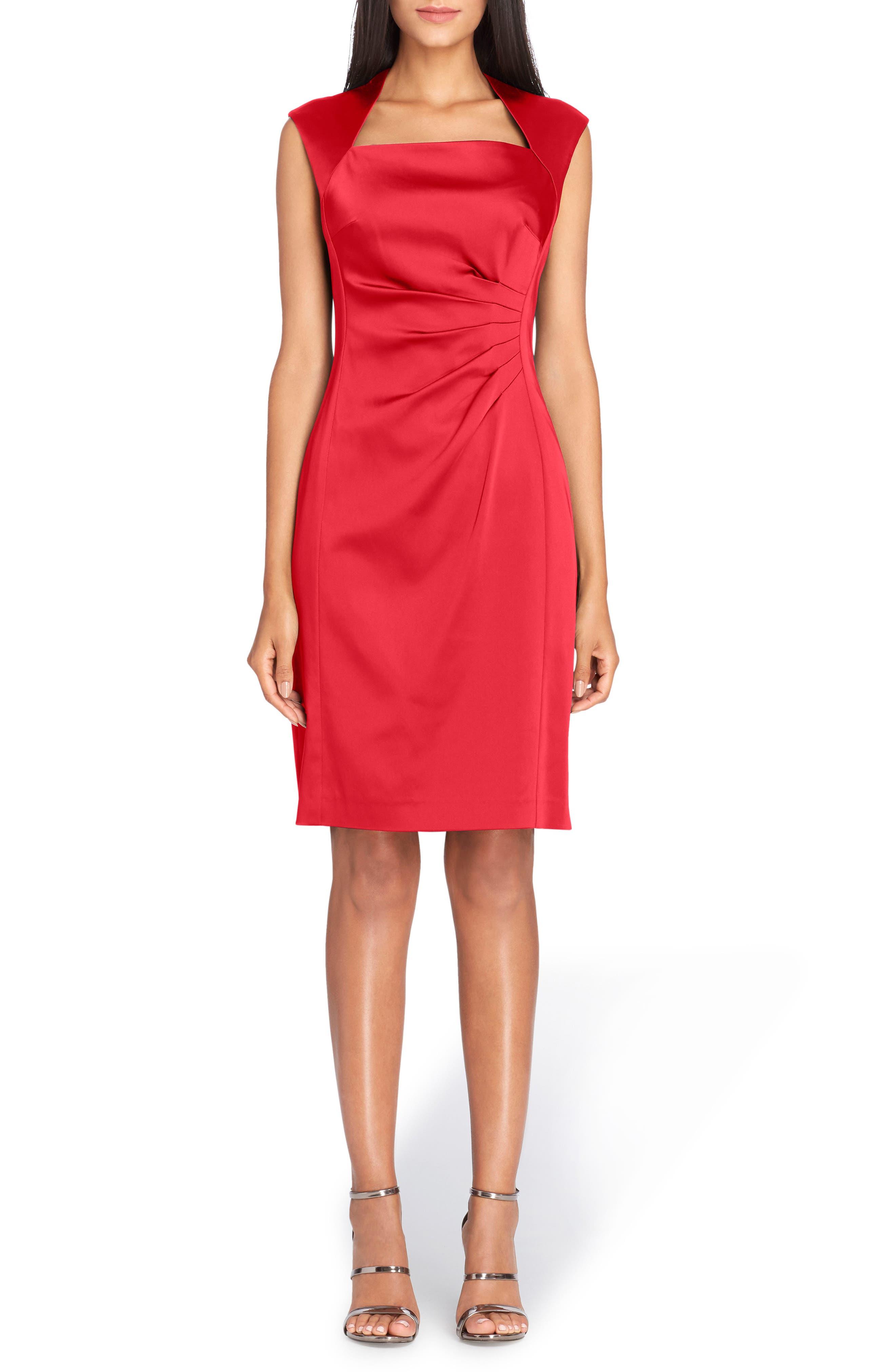 Stretch Satin Sheath Dress,                         Main,                         color, Claret