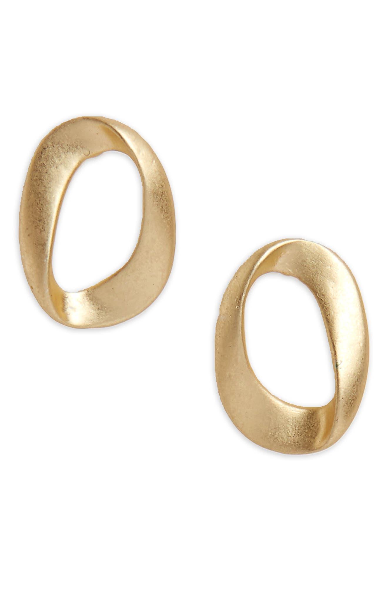 Brushed Loop Stud Earrings,                         Main,                         color, Worn Gold
