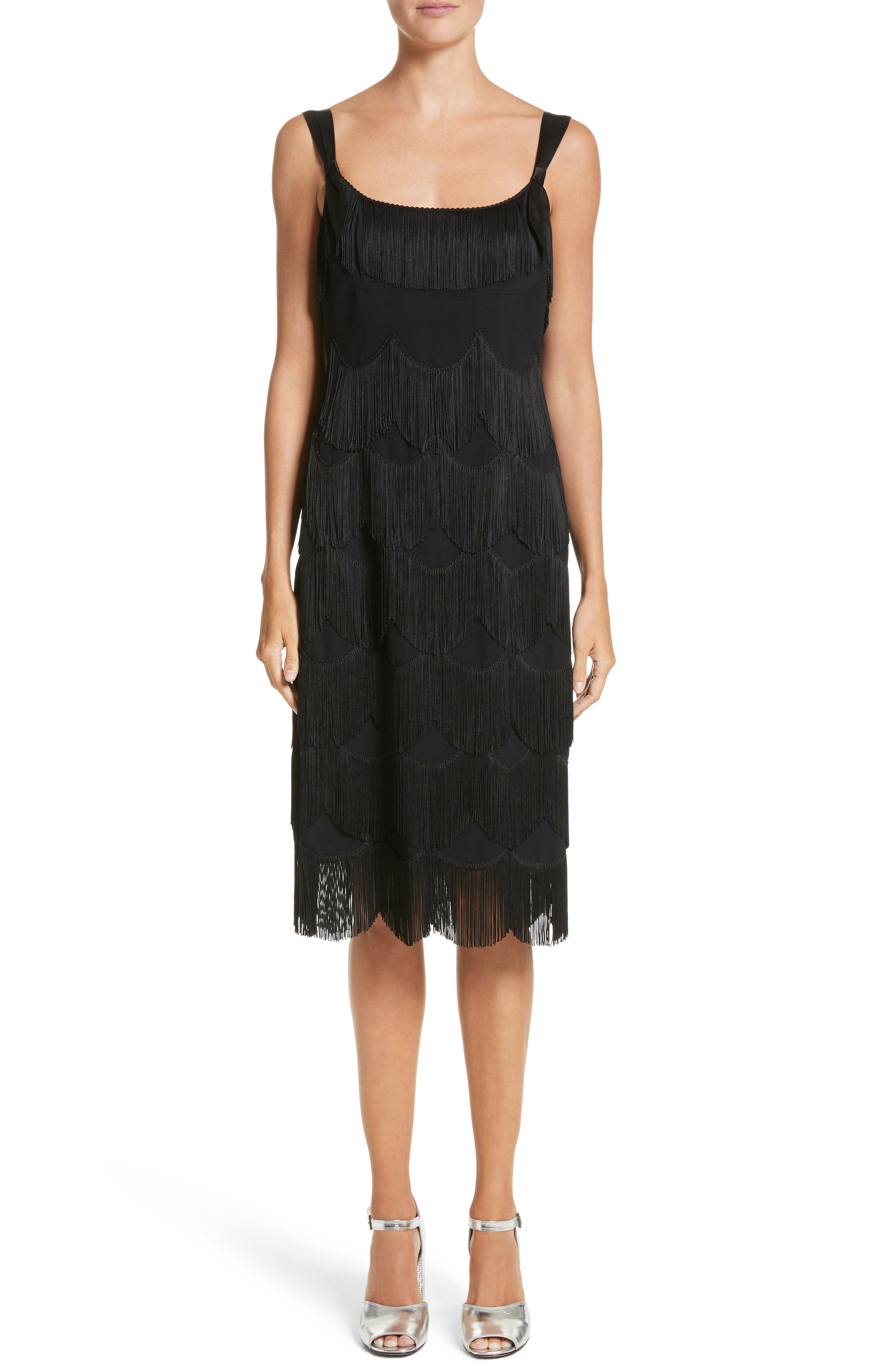 Scalloped Fringe Party Dress,                         Main,                         color, Black