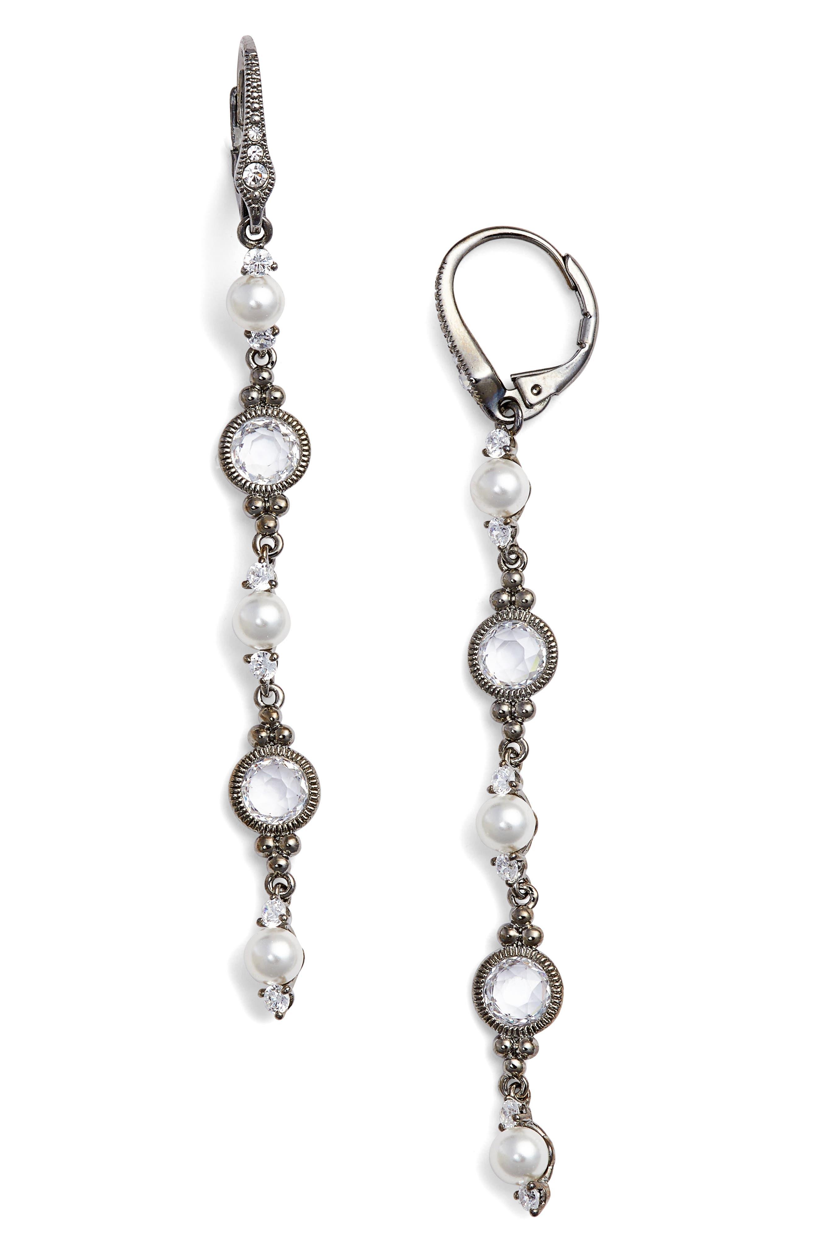 Cubic Zirconia & Imitation Pearl Linear Drop Earrings,                             Main thumbnail 1, color,                             Black