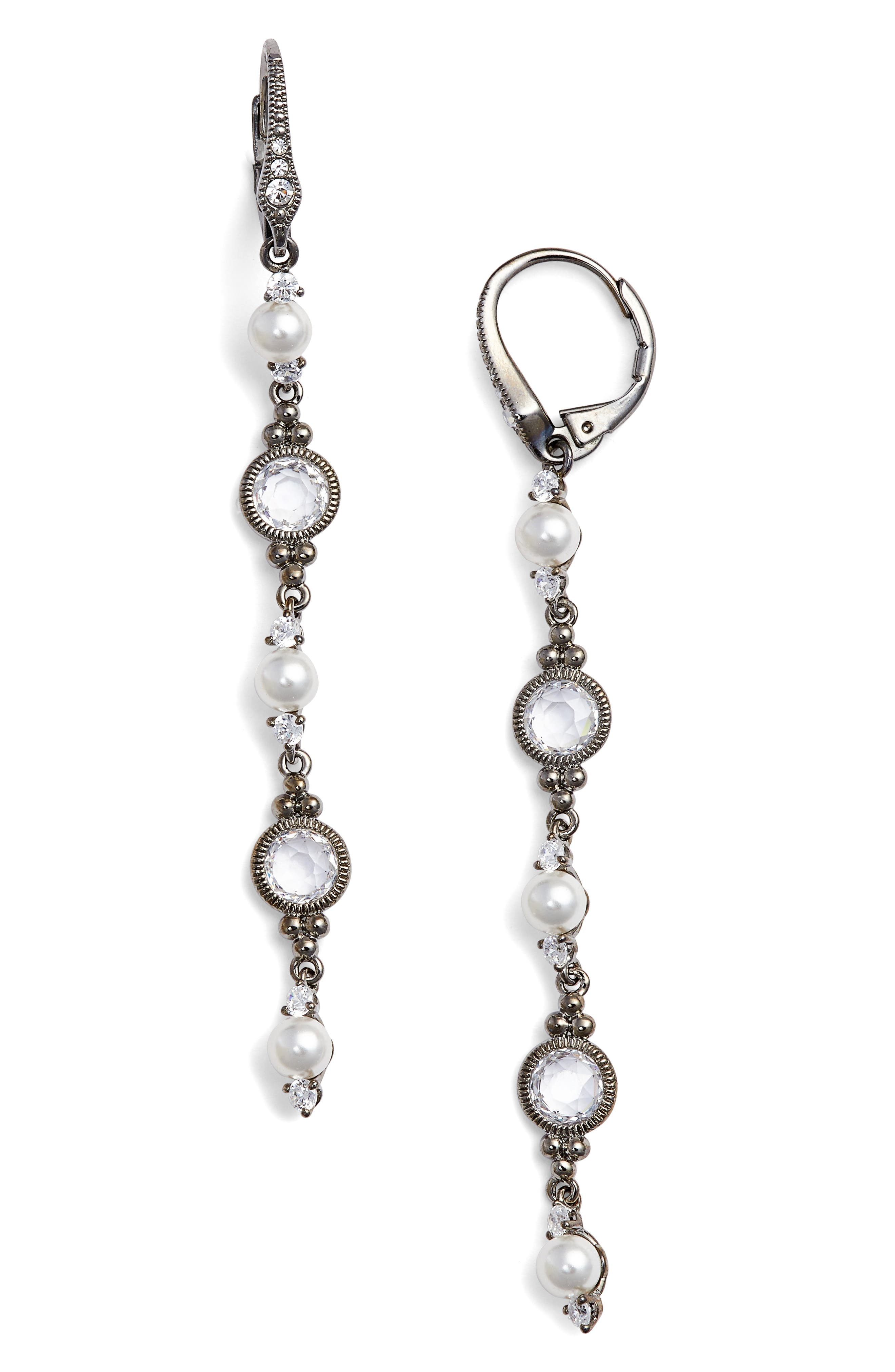 Main Image - Nadri Cubic Zirconia & Imitation Pearl Linear Drop Earrings