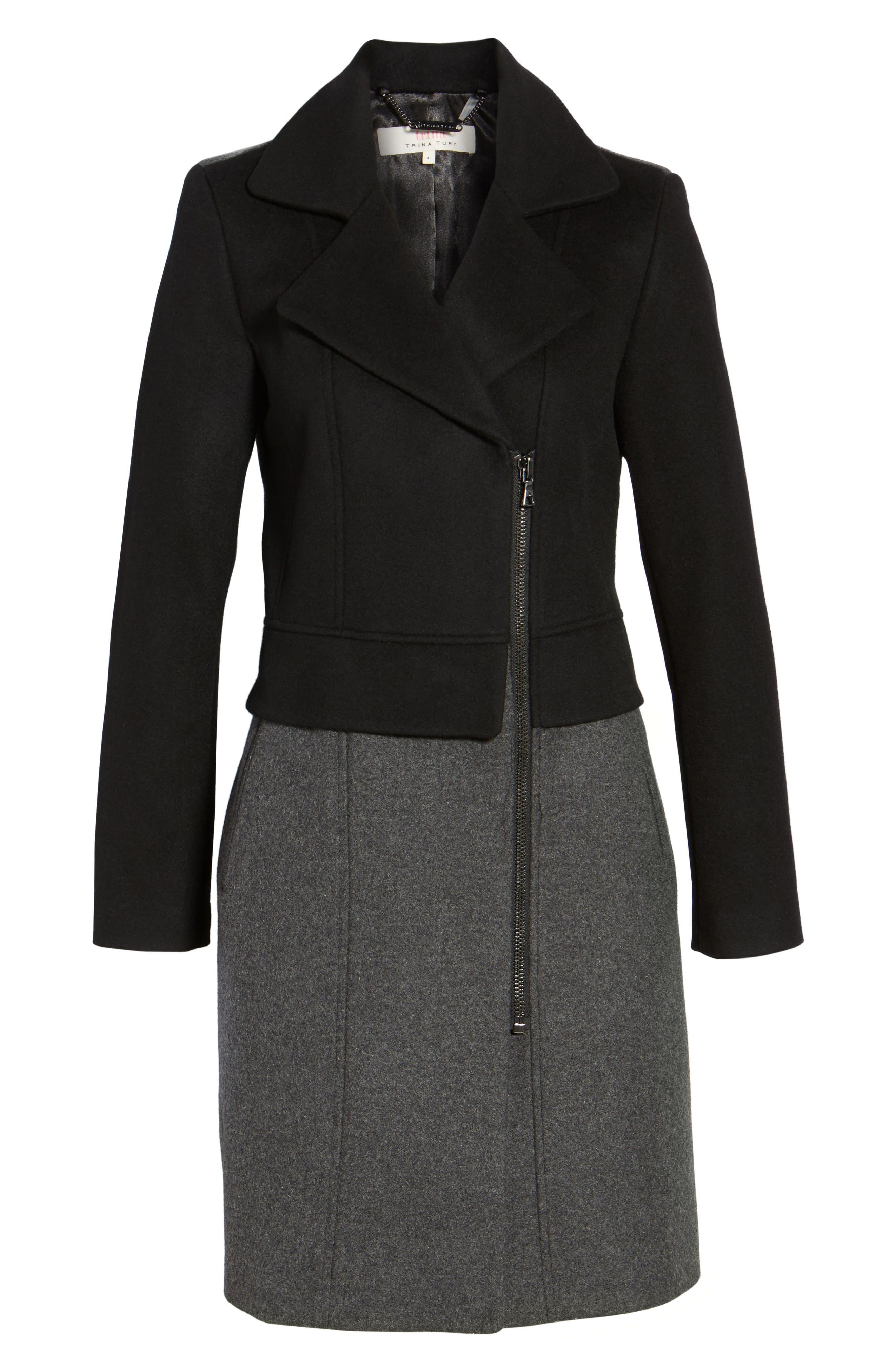 Brooklyn Colorblock Coat,                             Alternate thumbnail 6, color,                             Grey/ Black