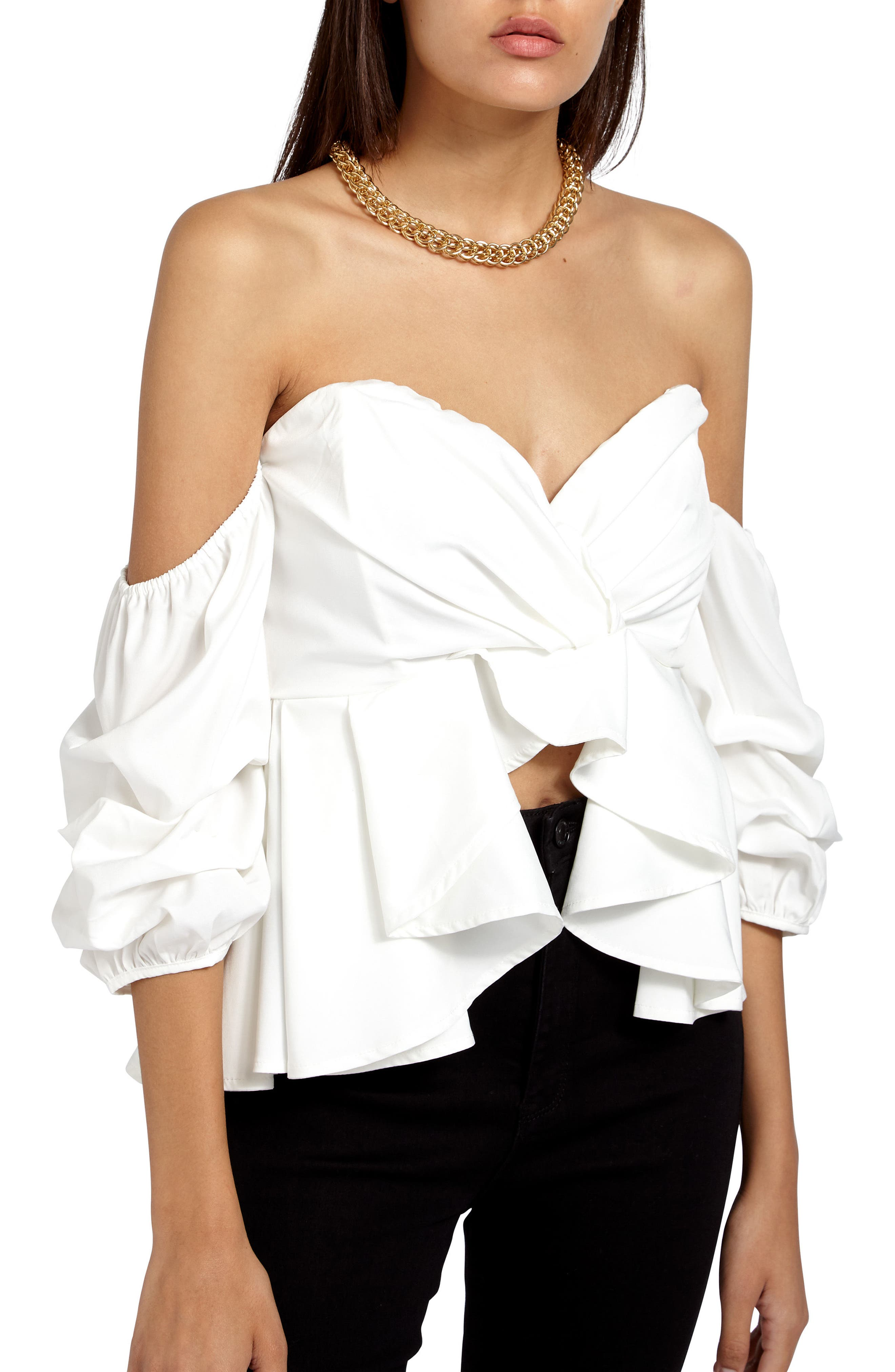 Off the Shoulder Ruffle Crop Top,                             Alternate thumbnail 4, color,                             Cream