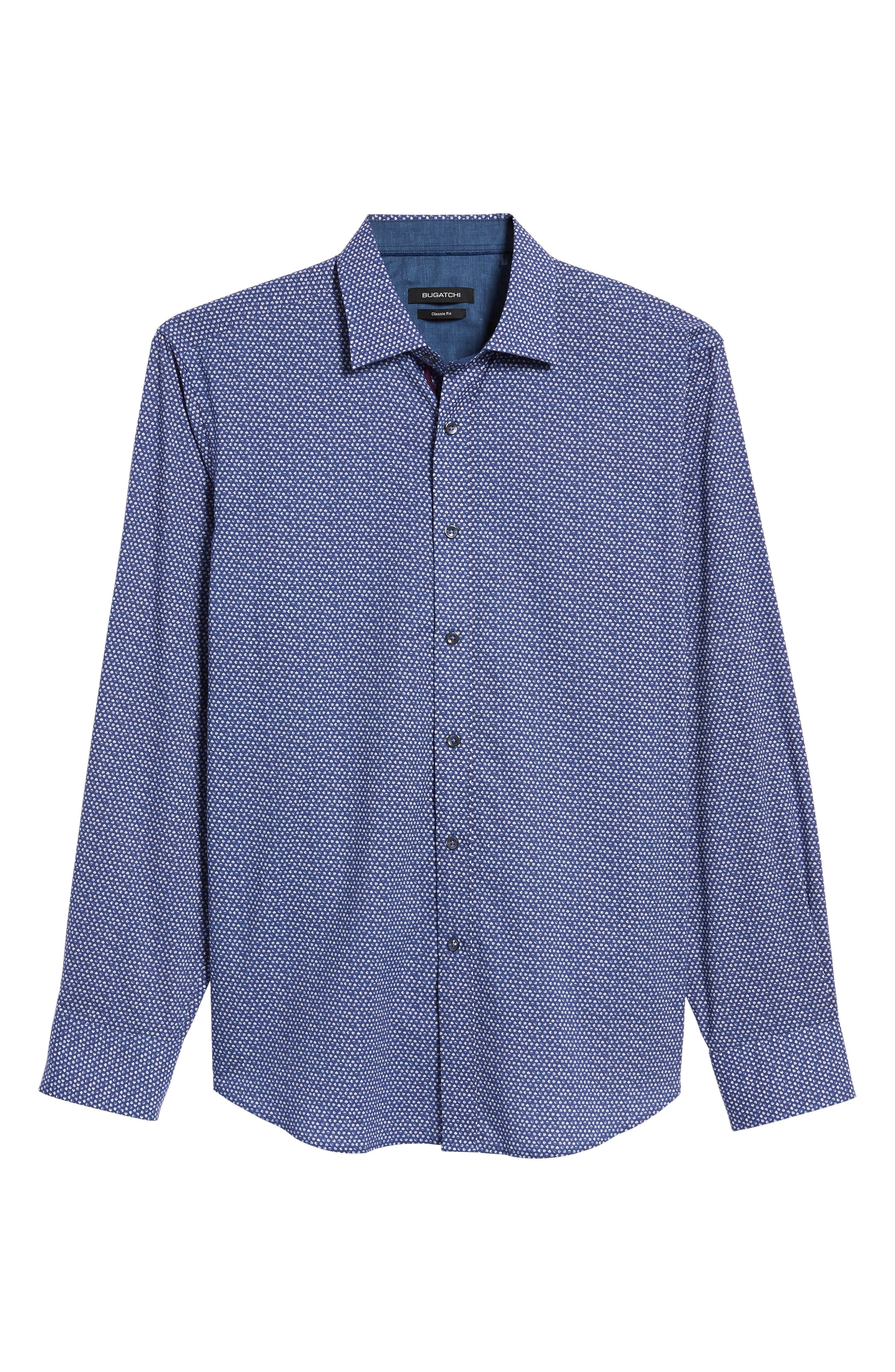 Classic Fit Raindrop Print Sport Shirt,                             Alternate thumbnail 6, color,                             Orchid