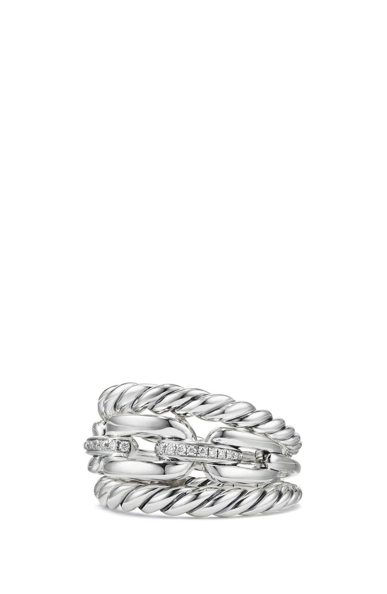 David Yurman Stax Three-Row Ring with Diamonds