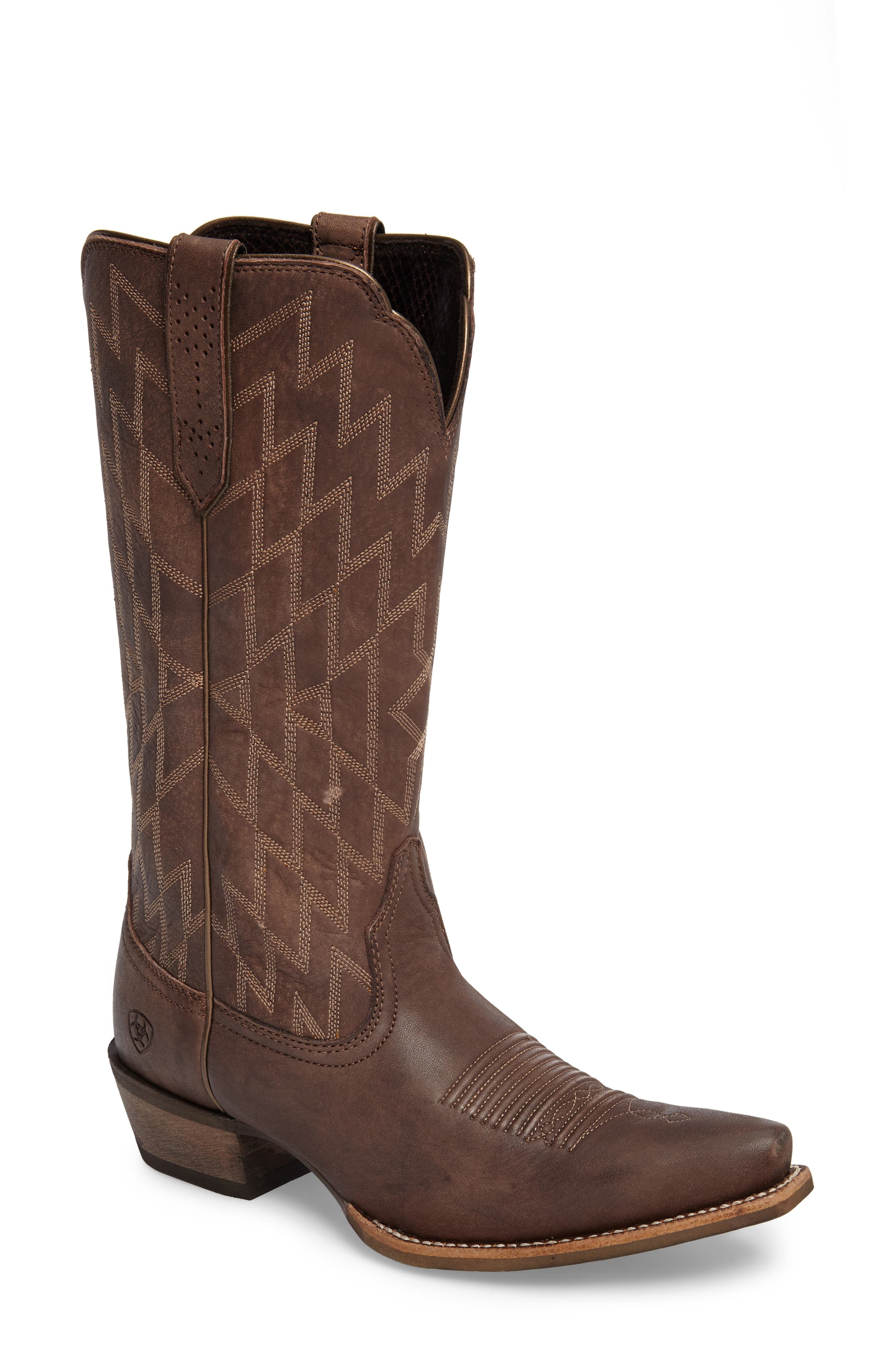 Heritage Southwestern X-Toe Boot,                         Main,                         color, Tack Room Chocolate Leather