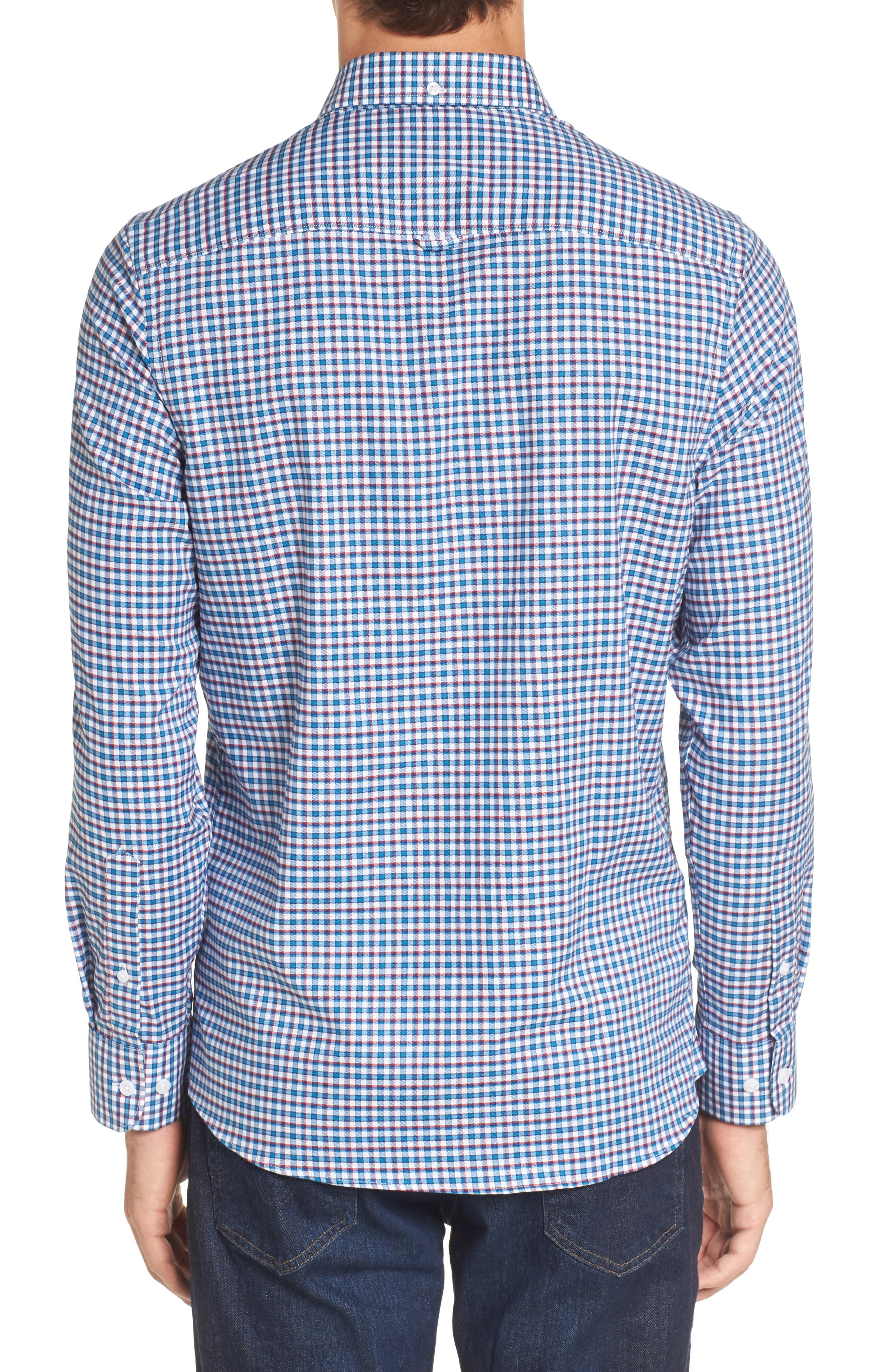 Slim Fit Tech-Smart Mini Check Sport Shirt,                             Alternate thumbnail 2, color,                             Blue Estate White Mini Check