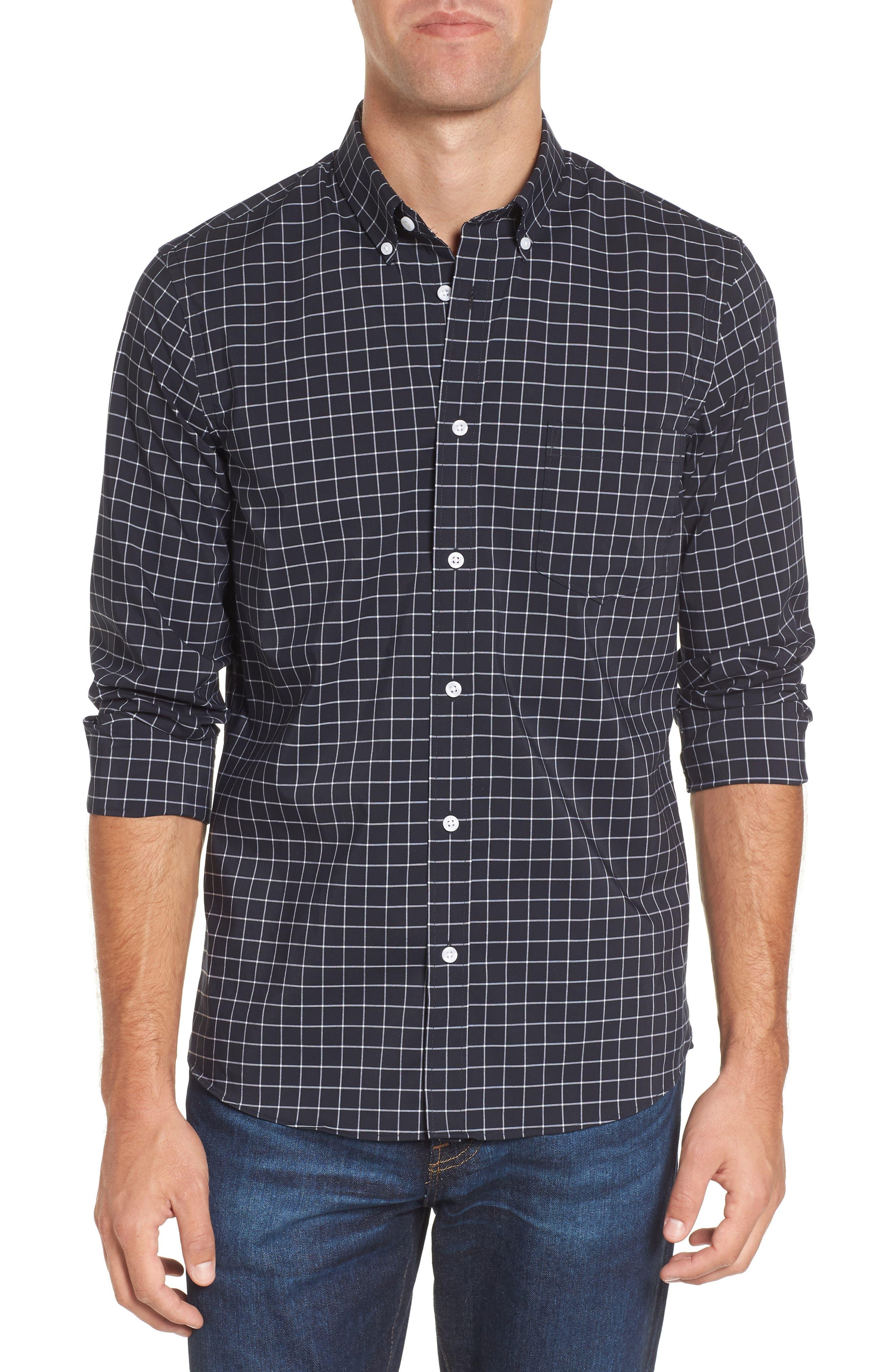 Slim Fit Tech-Smart Grid Sport Shirt,                         Main,                         color, Navy Iris White Grid
