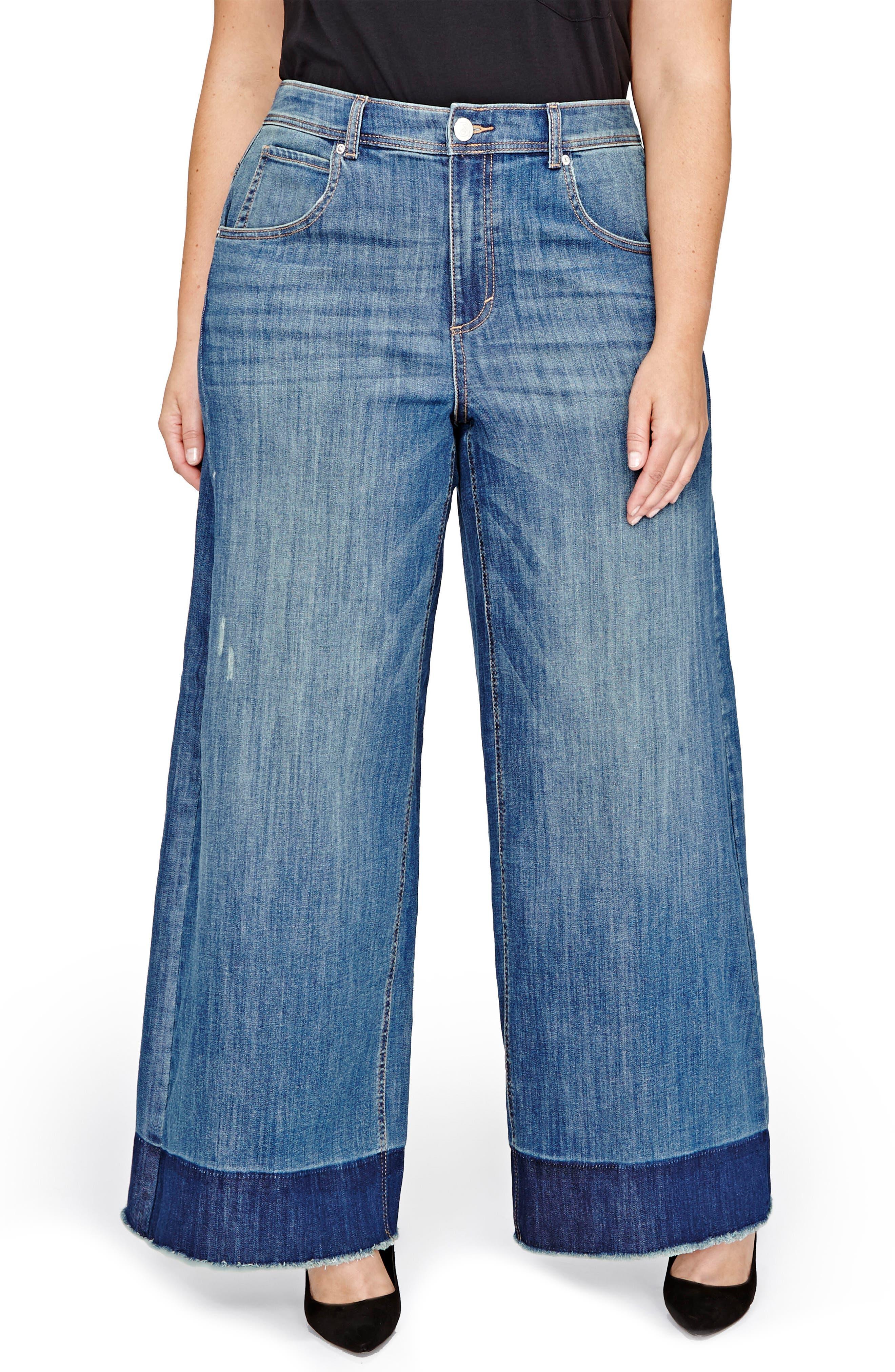 Jordyn Woods High Waist Wide Leg Jeans,                             Main thumbnail 1, color,                             Medium Wash Denim