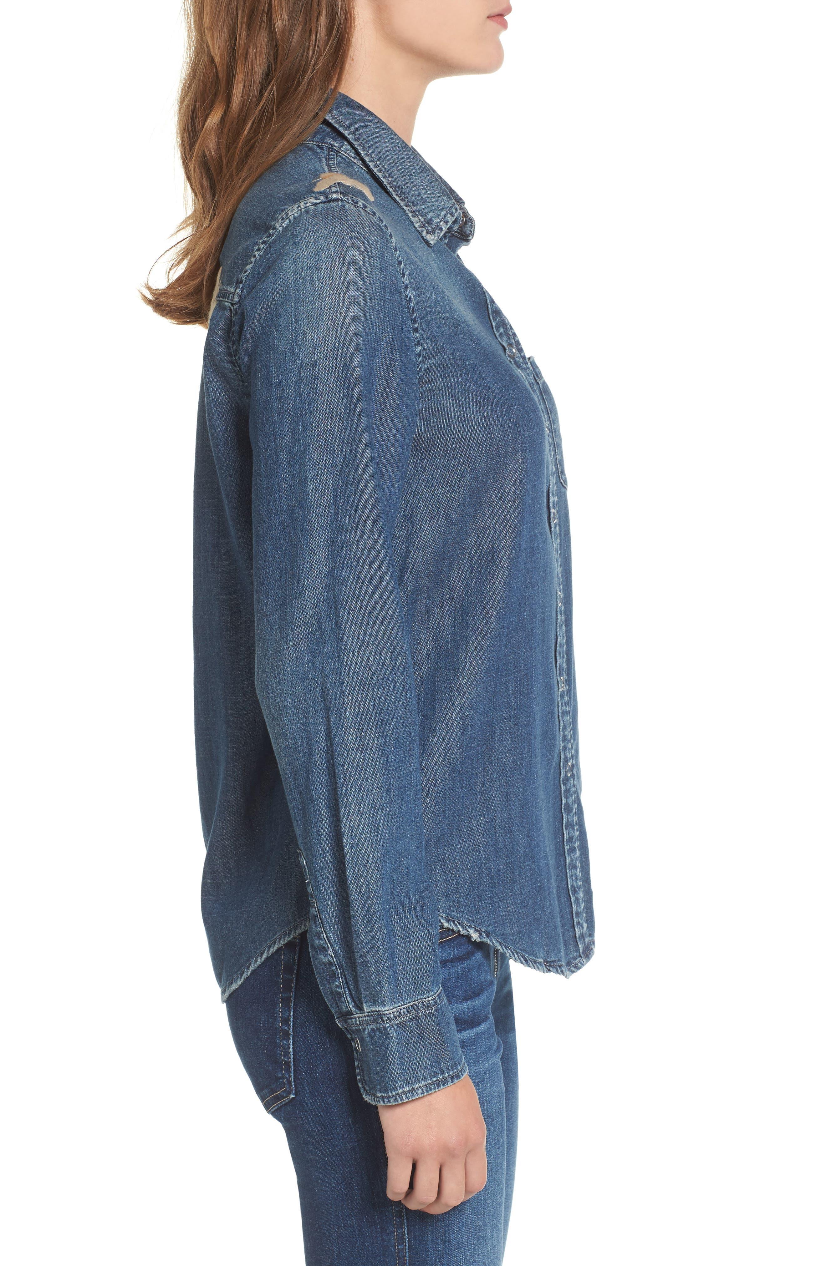 Alternate Image 3  - AG Joanna Embroidered Denim Shirt