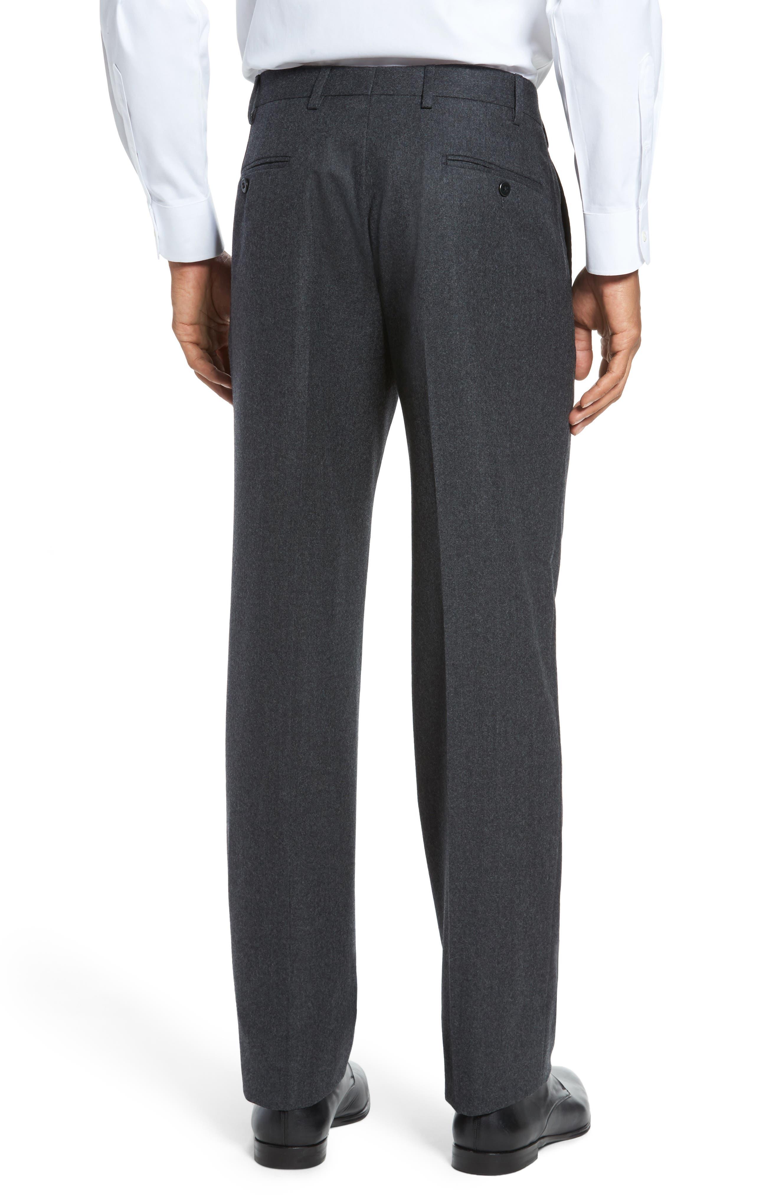 Alternate Image 3  - Zanella Devon Flat Front Solid Wool Flannel Trousers