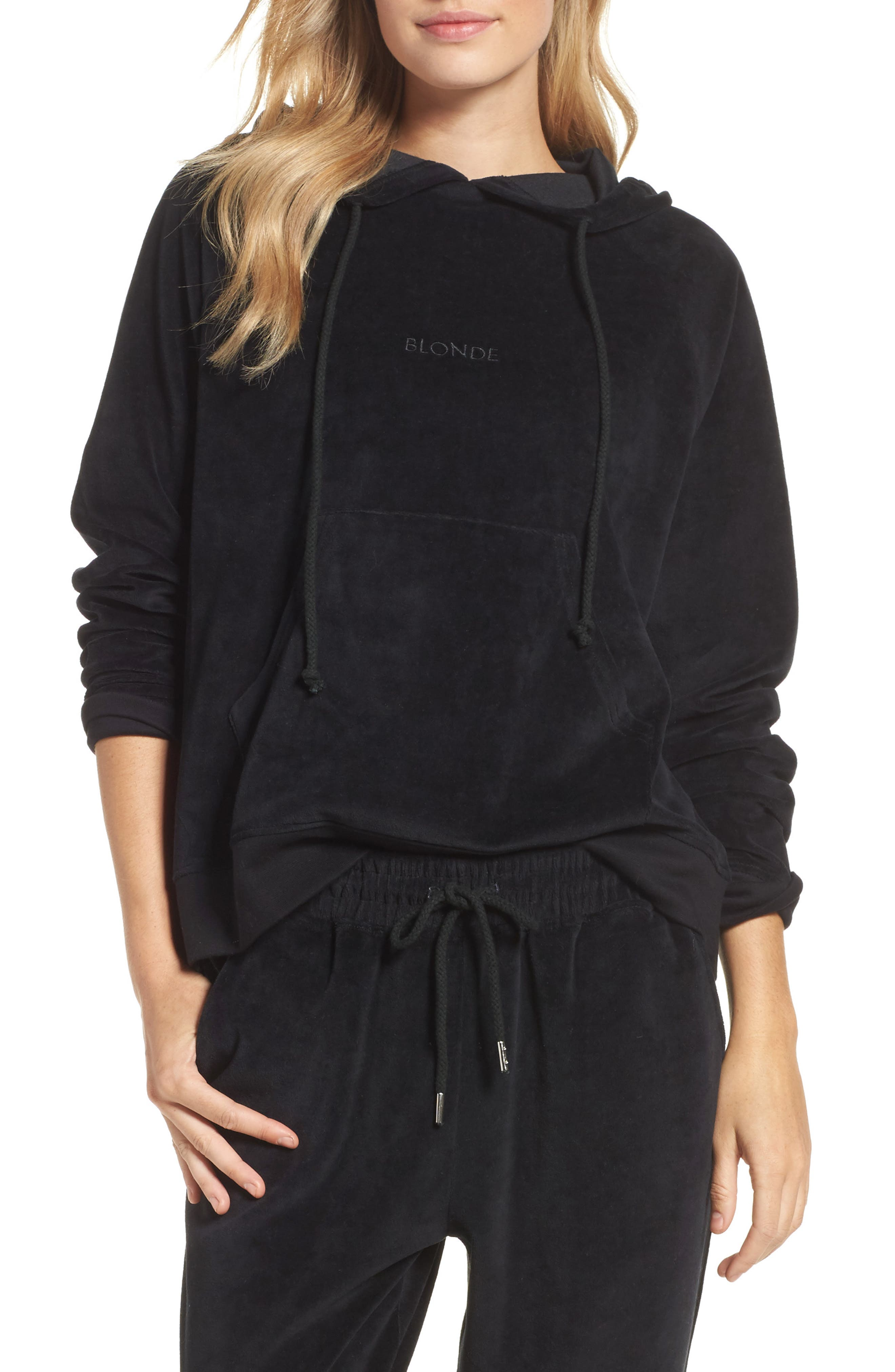 Blonde Embroidered Velour Hoodie,                             Main thumbnail 1, color,                             Black