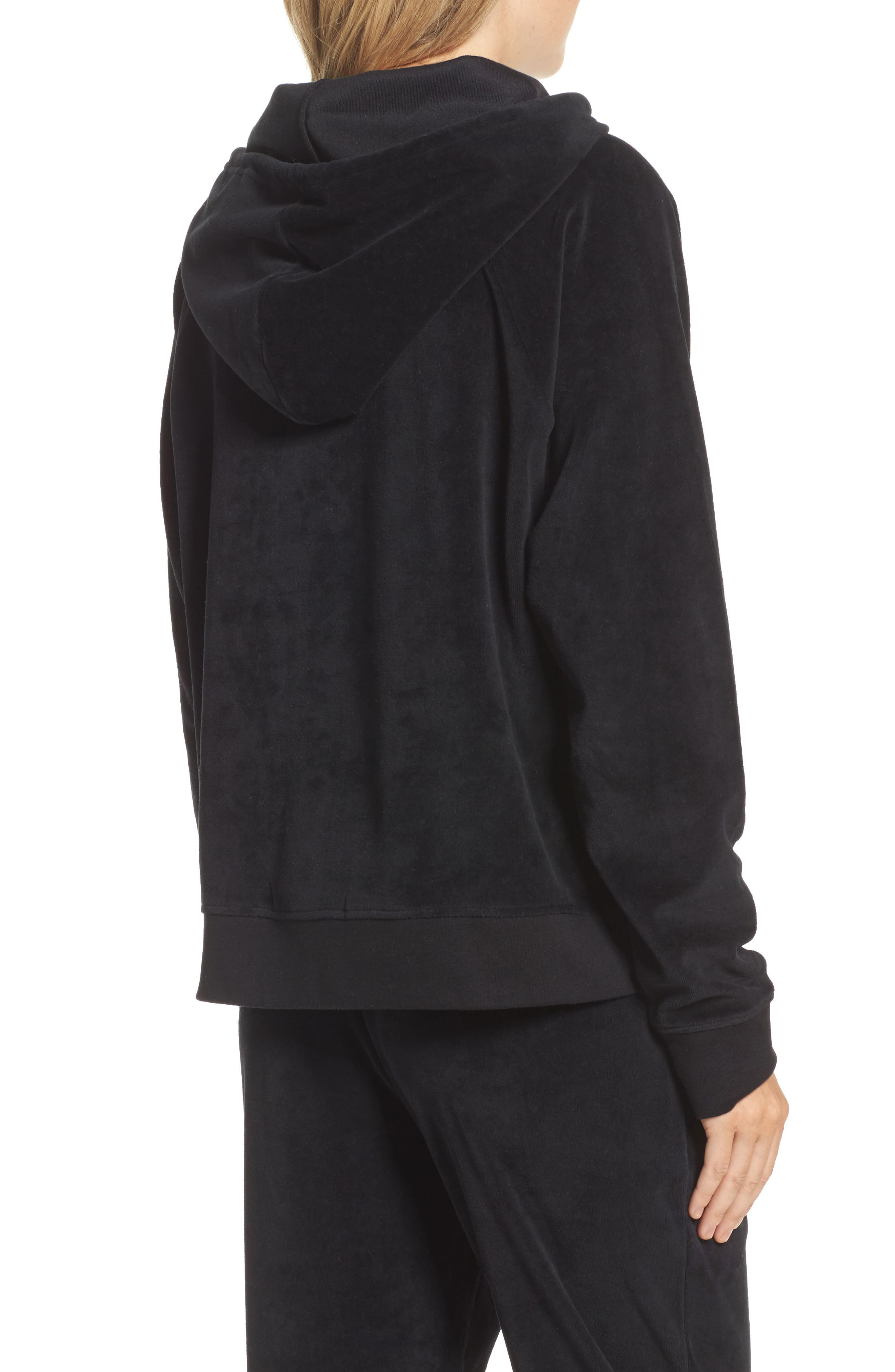 Blonde Embroidered Velour Hoodie,                             Alternate thumbnail 2, color,                             Black