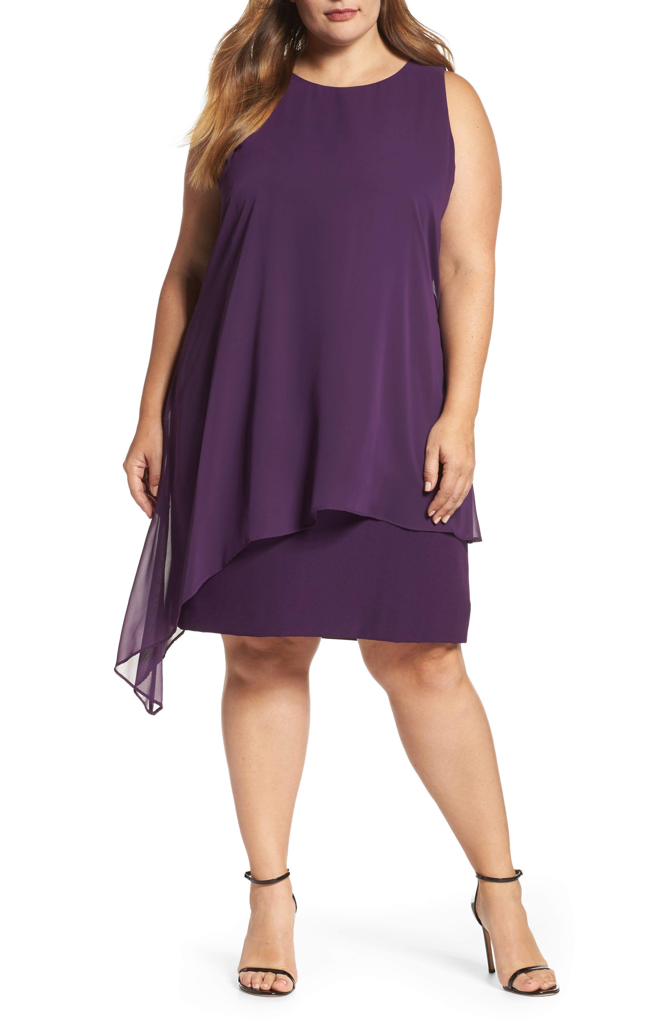Main Image - Tahari Chiffon Overlay Shift Dress (Plus Size)