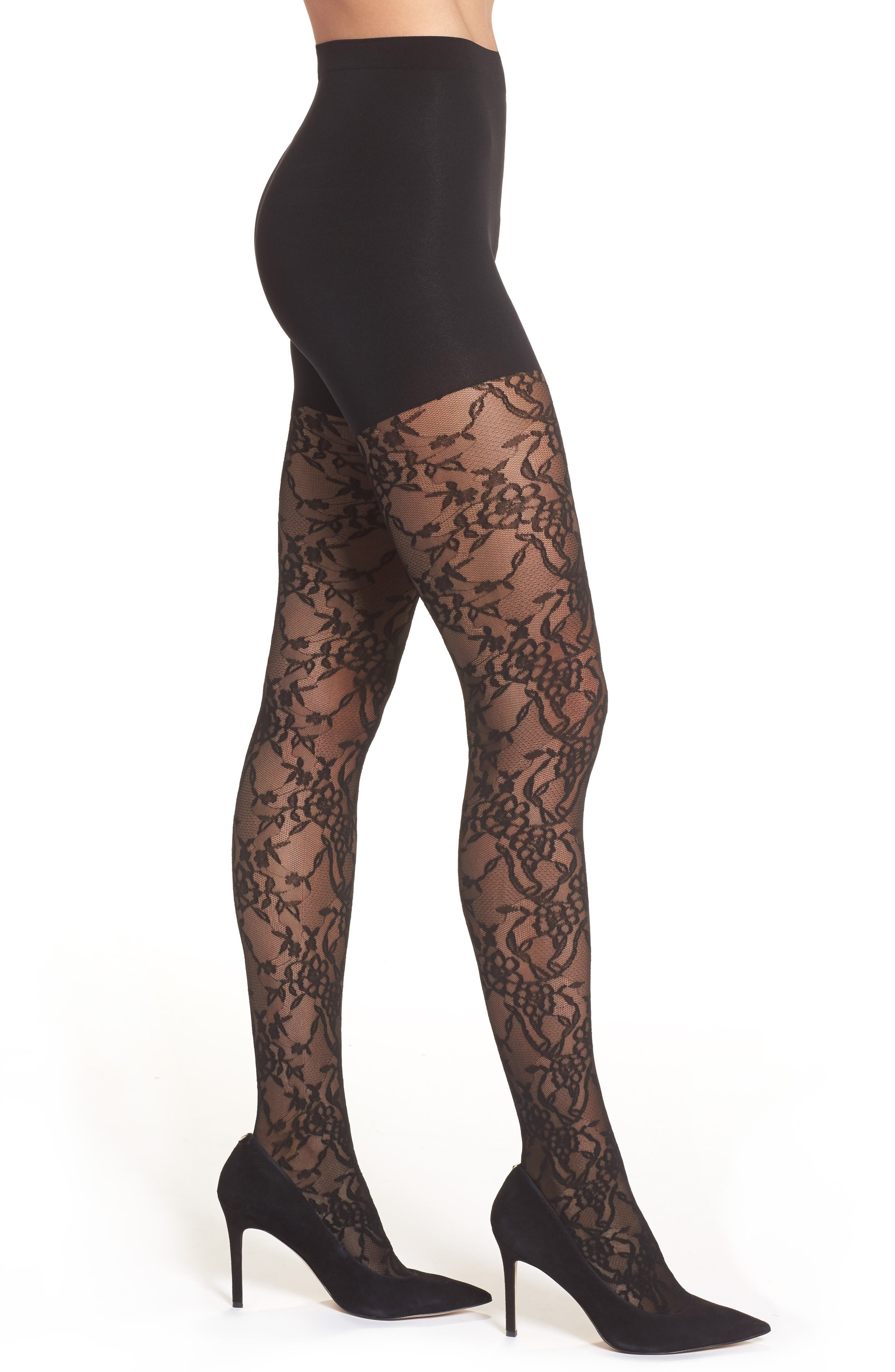 Lovely Lace Shaper Tights,                             Main thumbnail 1, color,                             Very Black