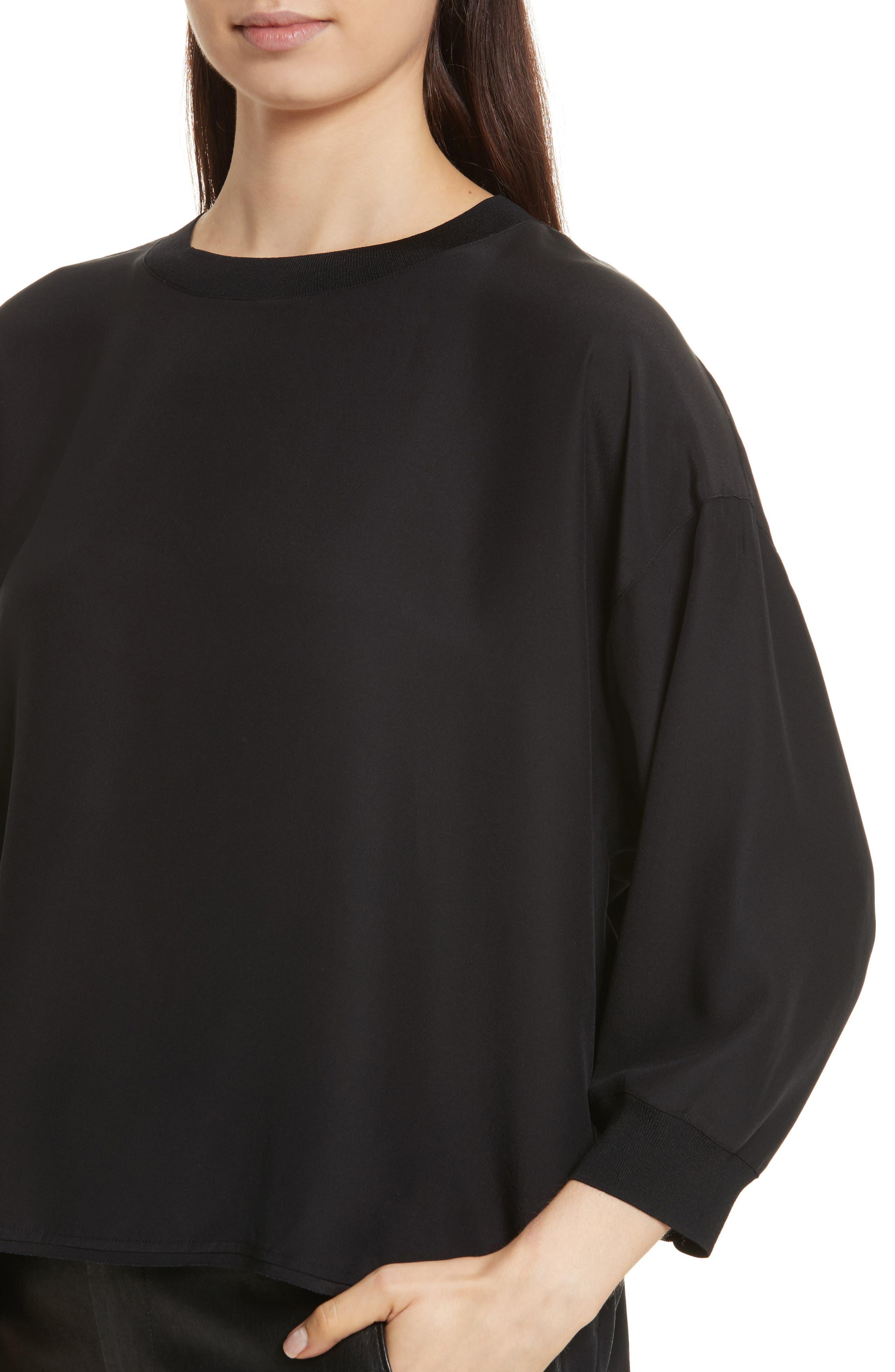 Rib Trim Silk Top,                             Alternate thumbnail 4, color,                             Black