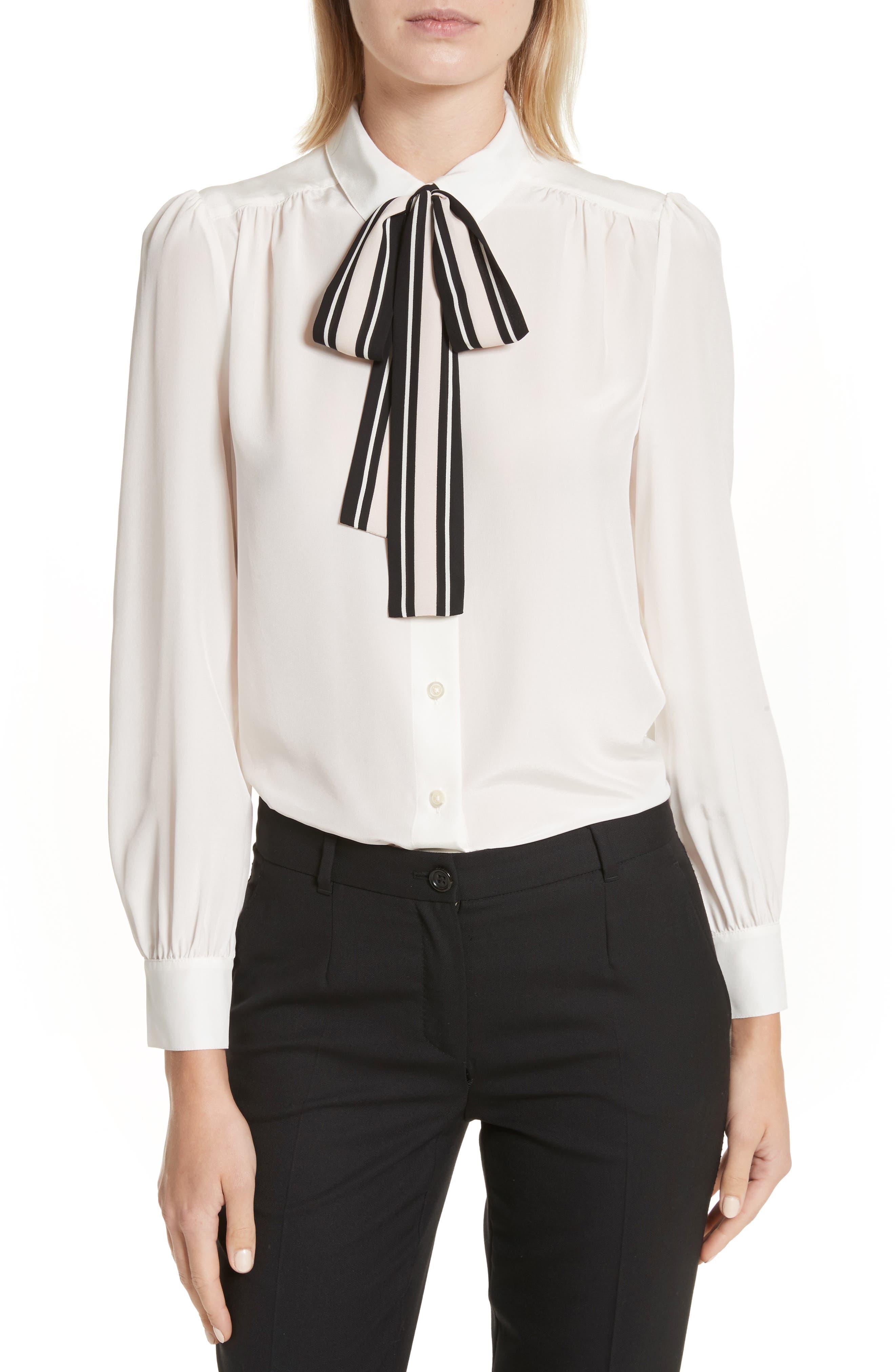 kate spade new york stripe tie silk shirt