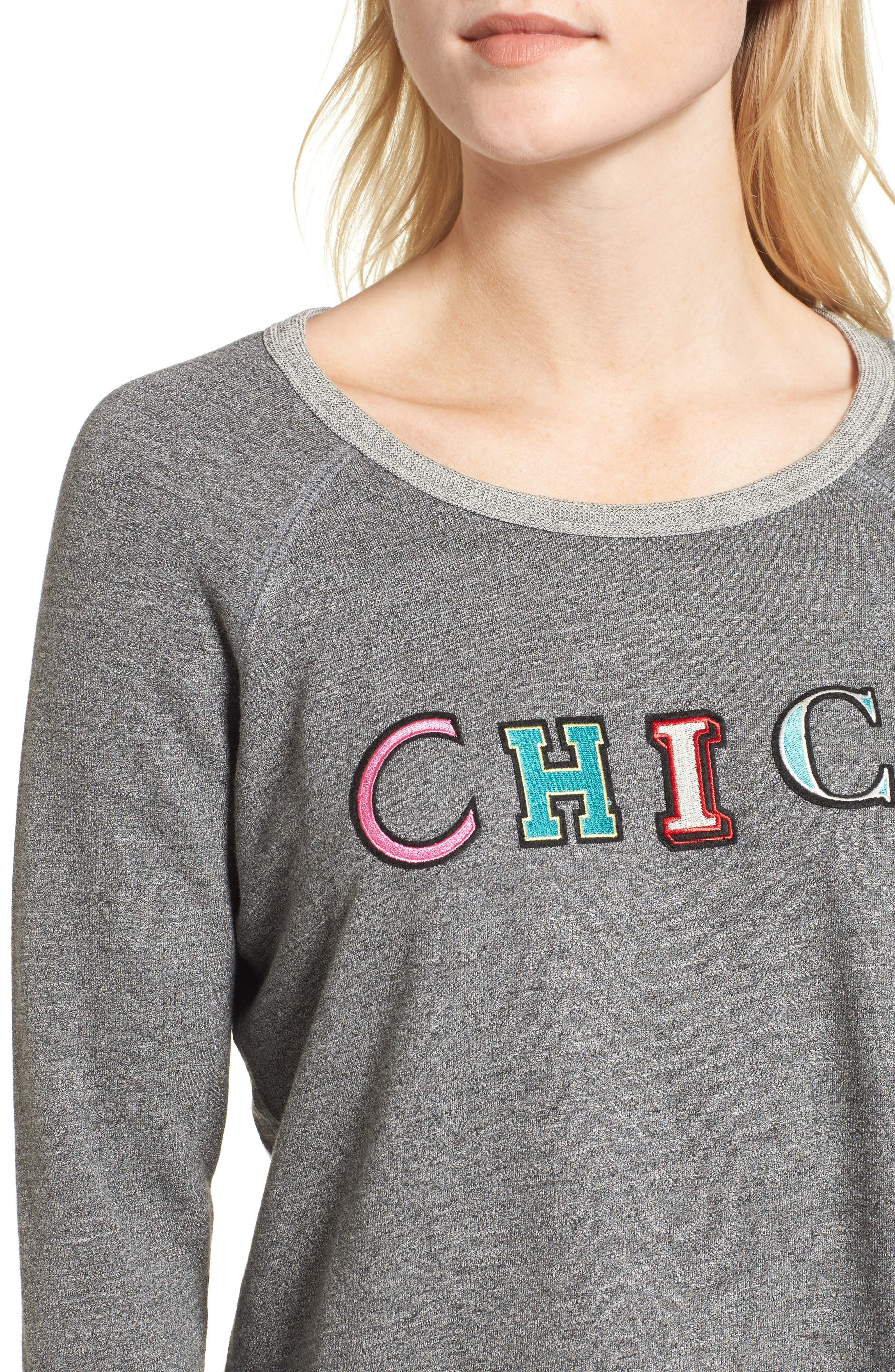 Chic Crop Sweatshirt,                             Alternate thumbnail 4, color,                             Heather Grey