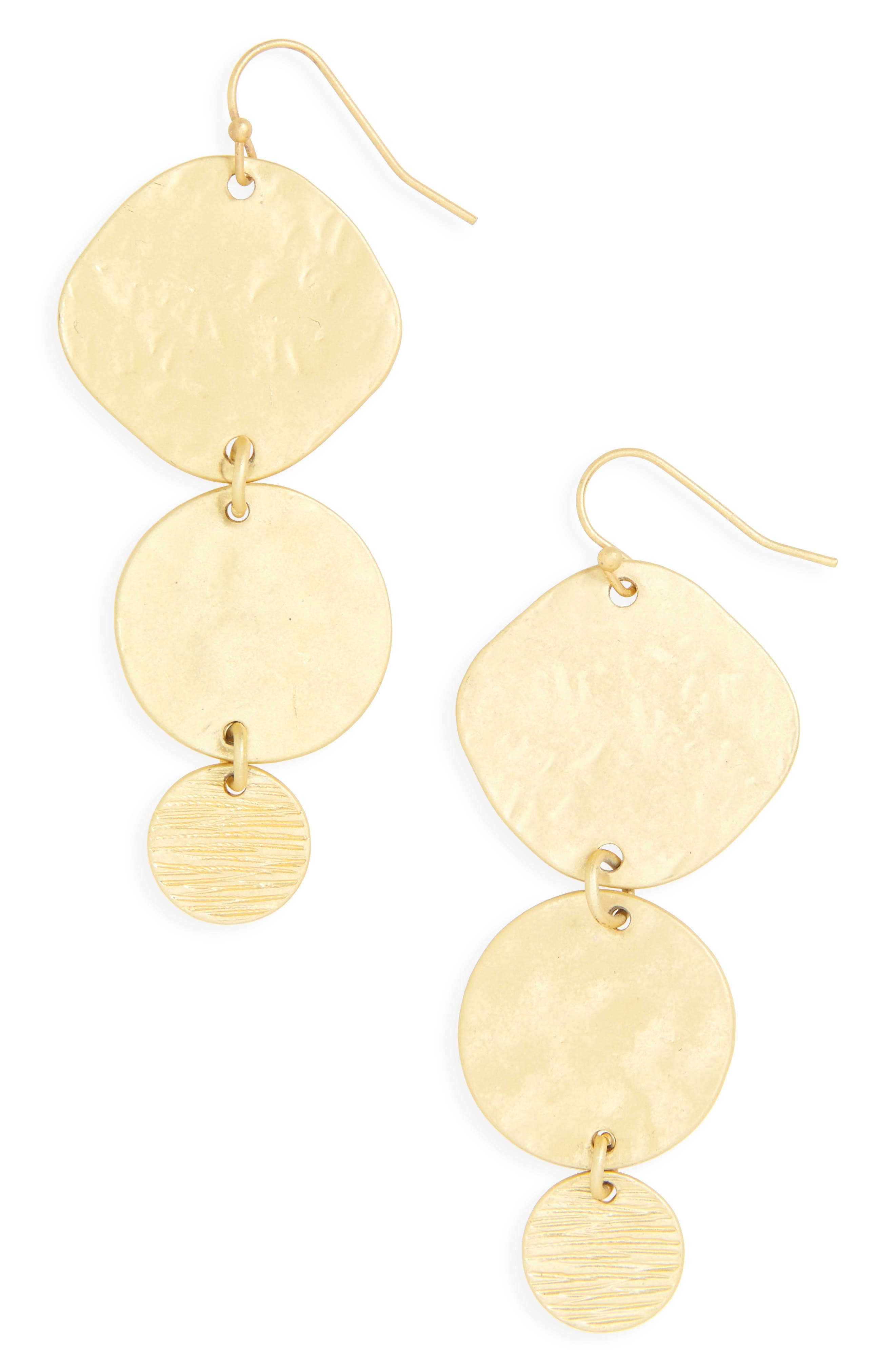 Textured Disc Earrings,                         Main,                         color, Worn Gold